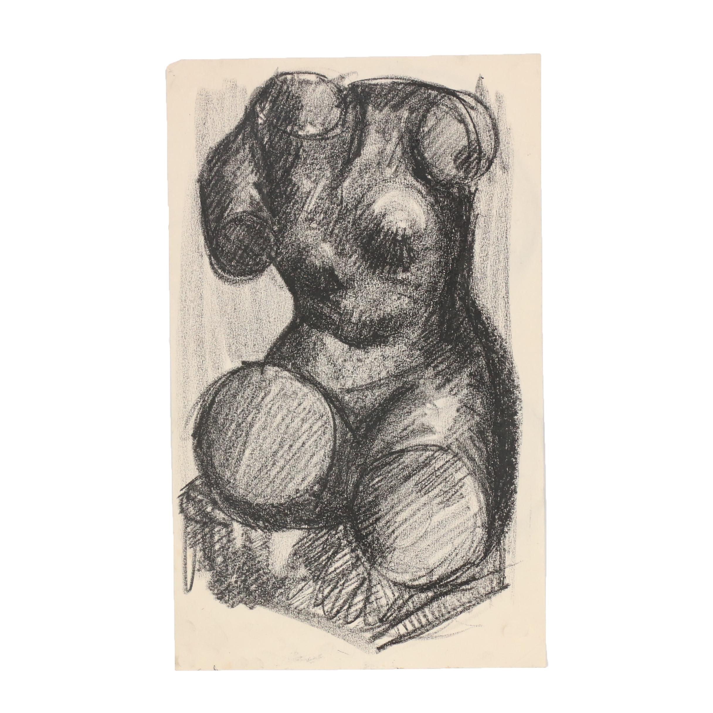 W. Glen Davis Charcoal Figure Study