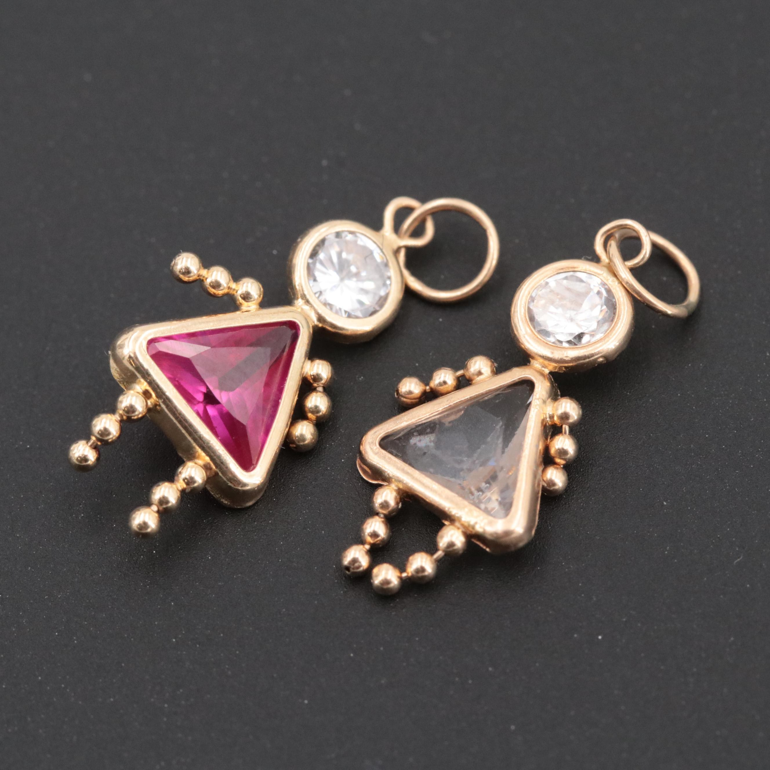 14K Yellow Gold Cubic Zirconia and Synthetic Ruby Figural Pendants