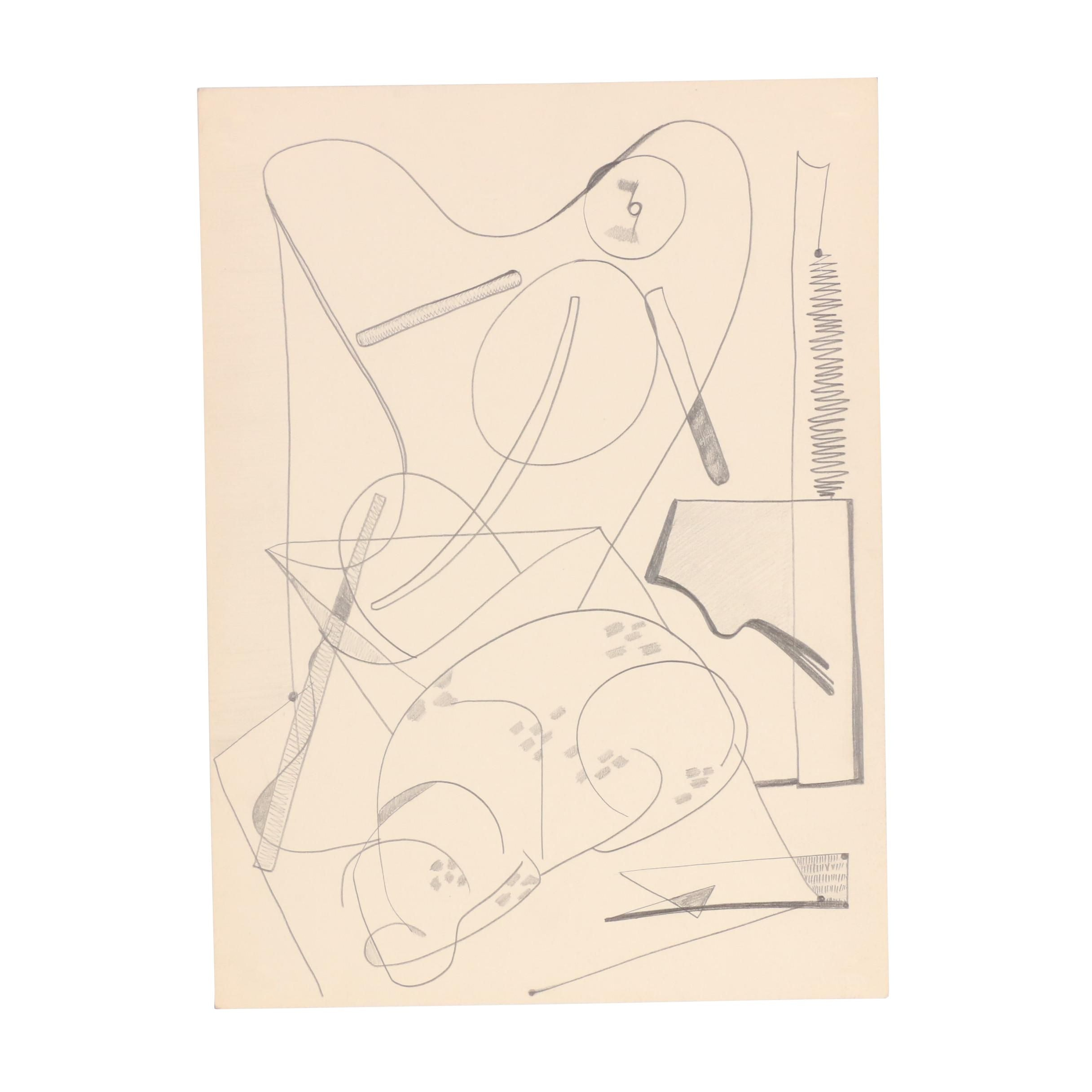 W. Glen Davis Abstract Graphite Drawing