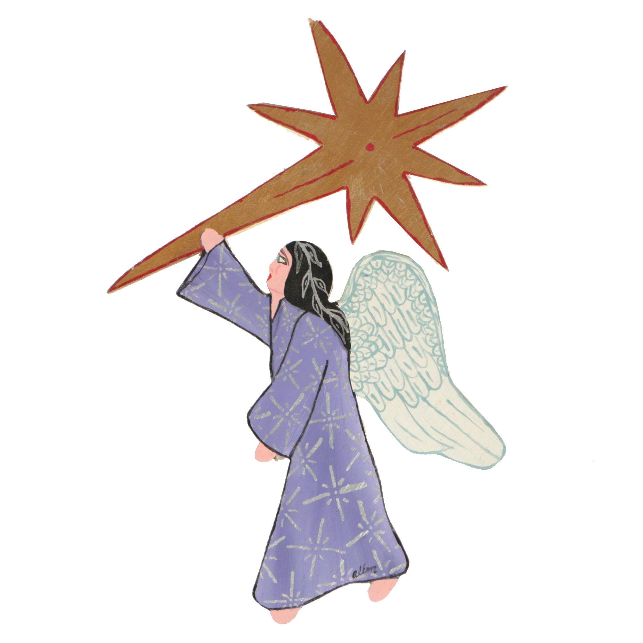 "Kenneth ""Allen"" Wilson Acrylic on Shaped Wood Sculpture of Angel"