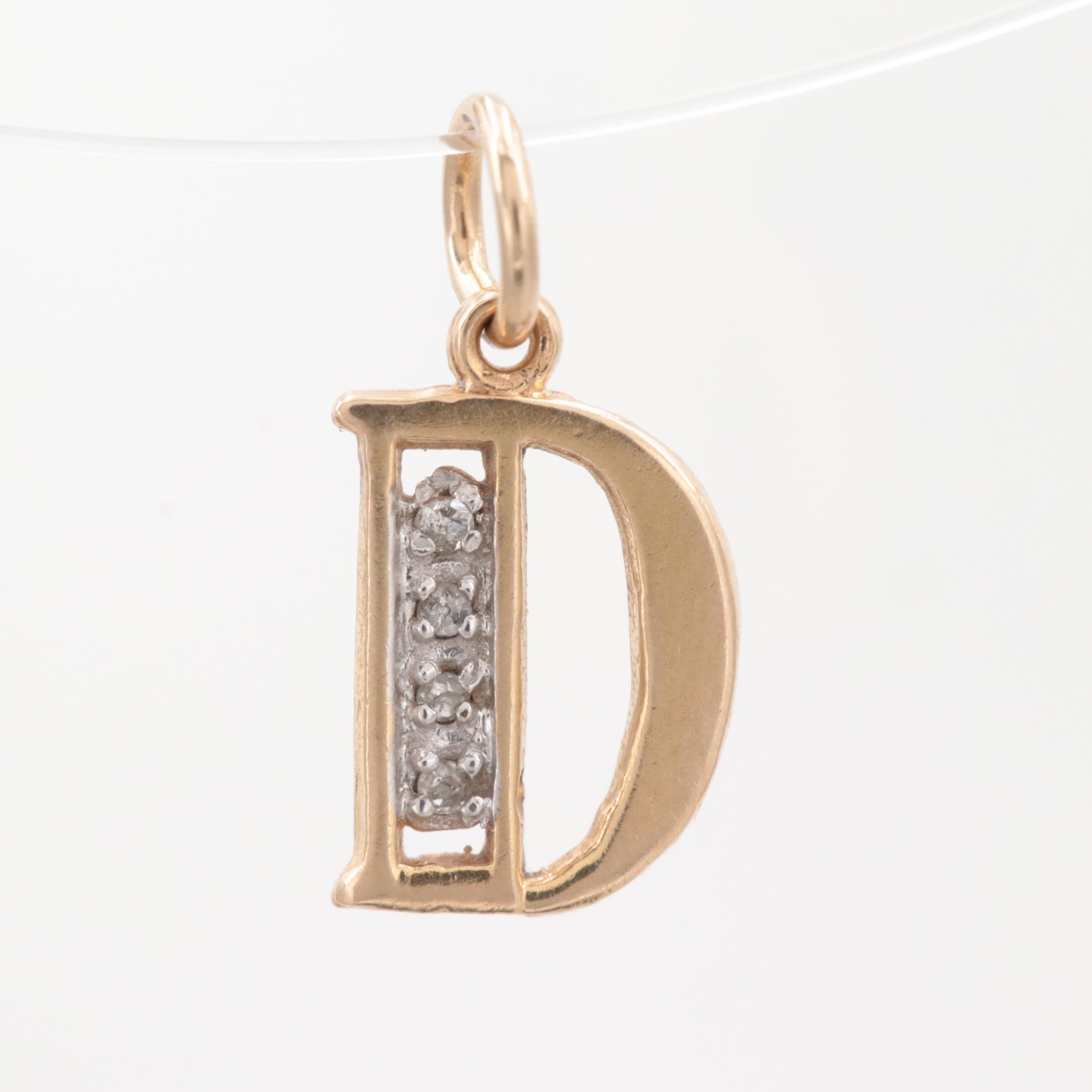 14K Yellow Gold Diamond Monogram D Charm