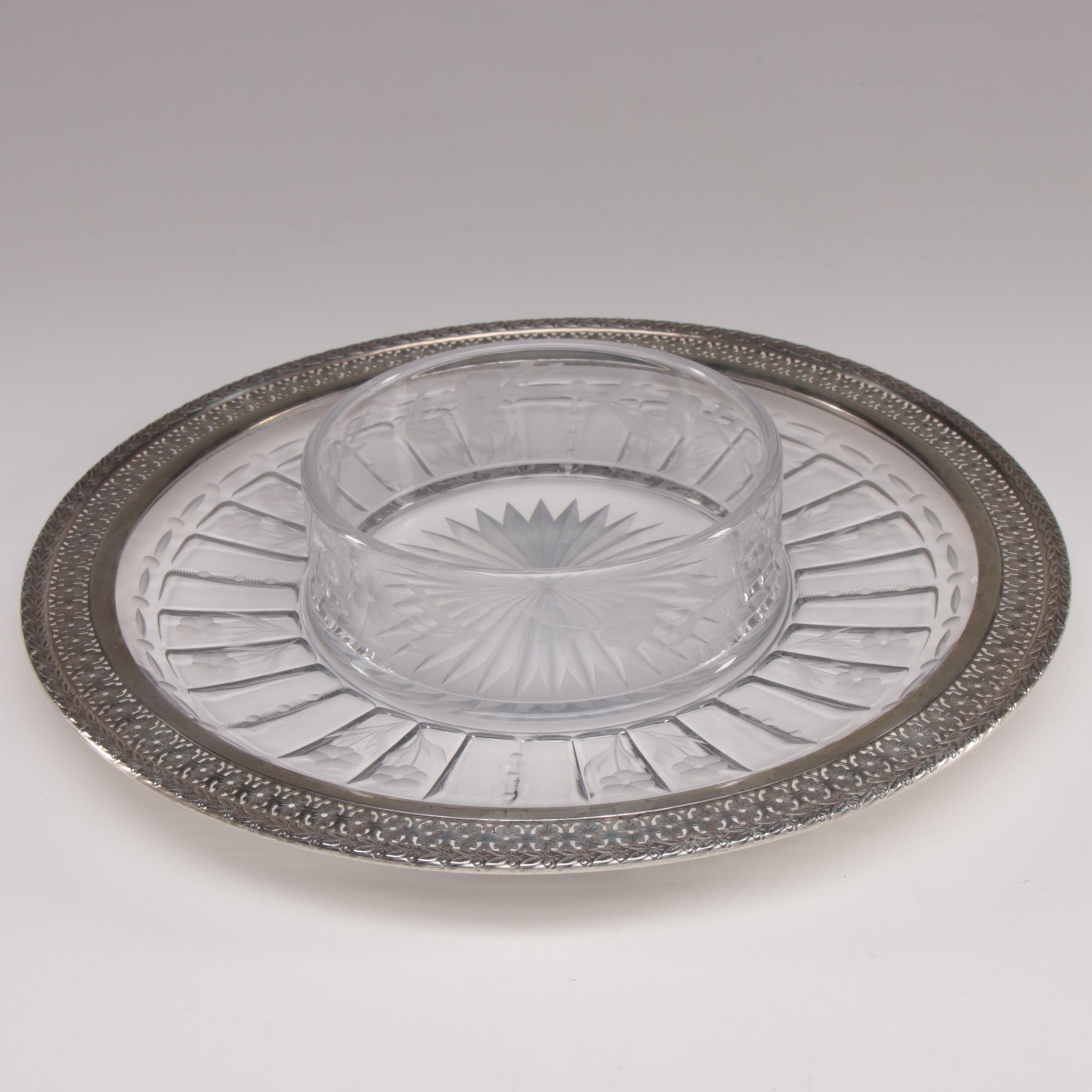 Watson Sterling Silver and Etched Glass Serving Dish, 1905–1929