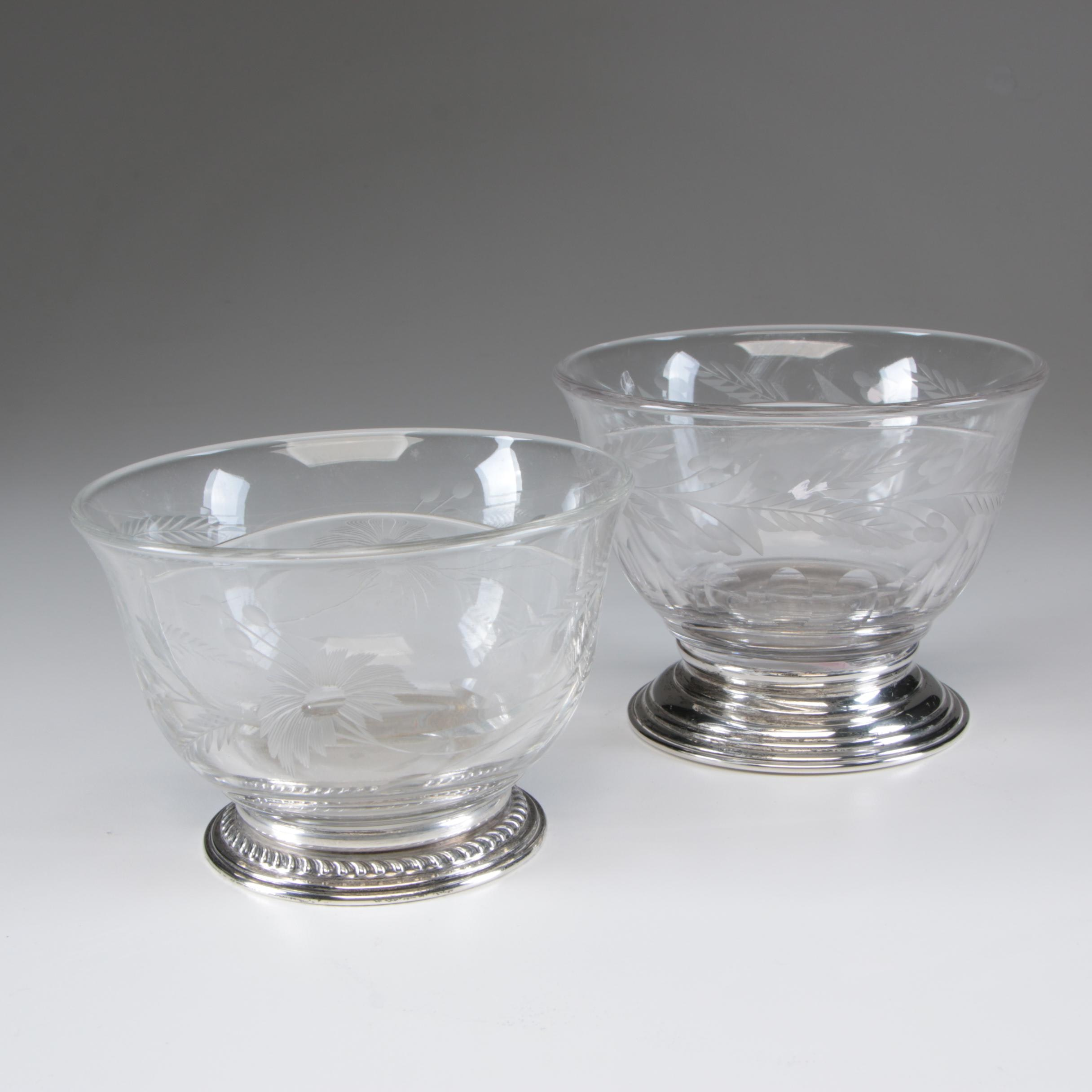Heisey Etched Glass Divided Bowl with Wallace Sterling Rim and More