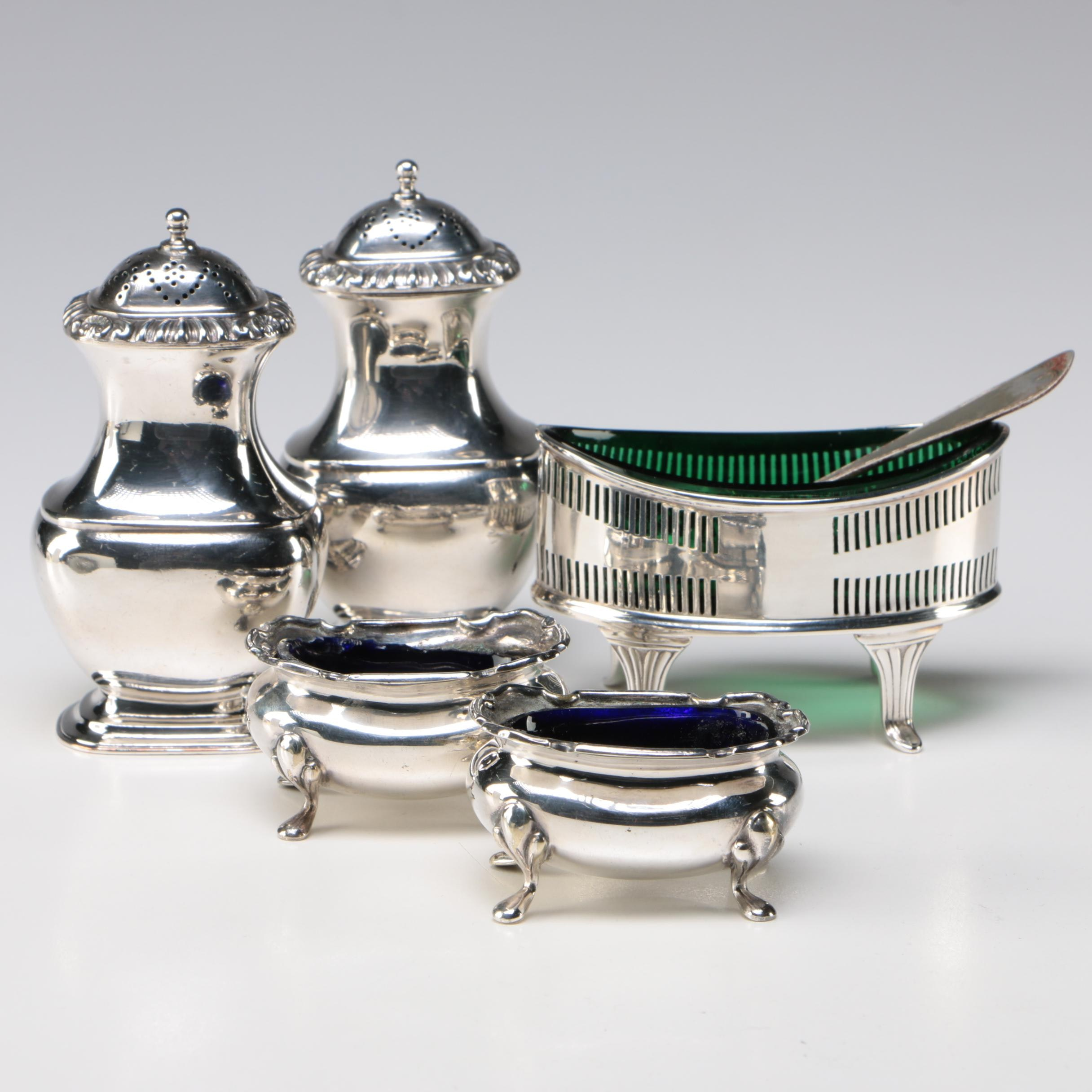 Birks and English Silver Plate and Colored Glass Salt Cellars with Shakers