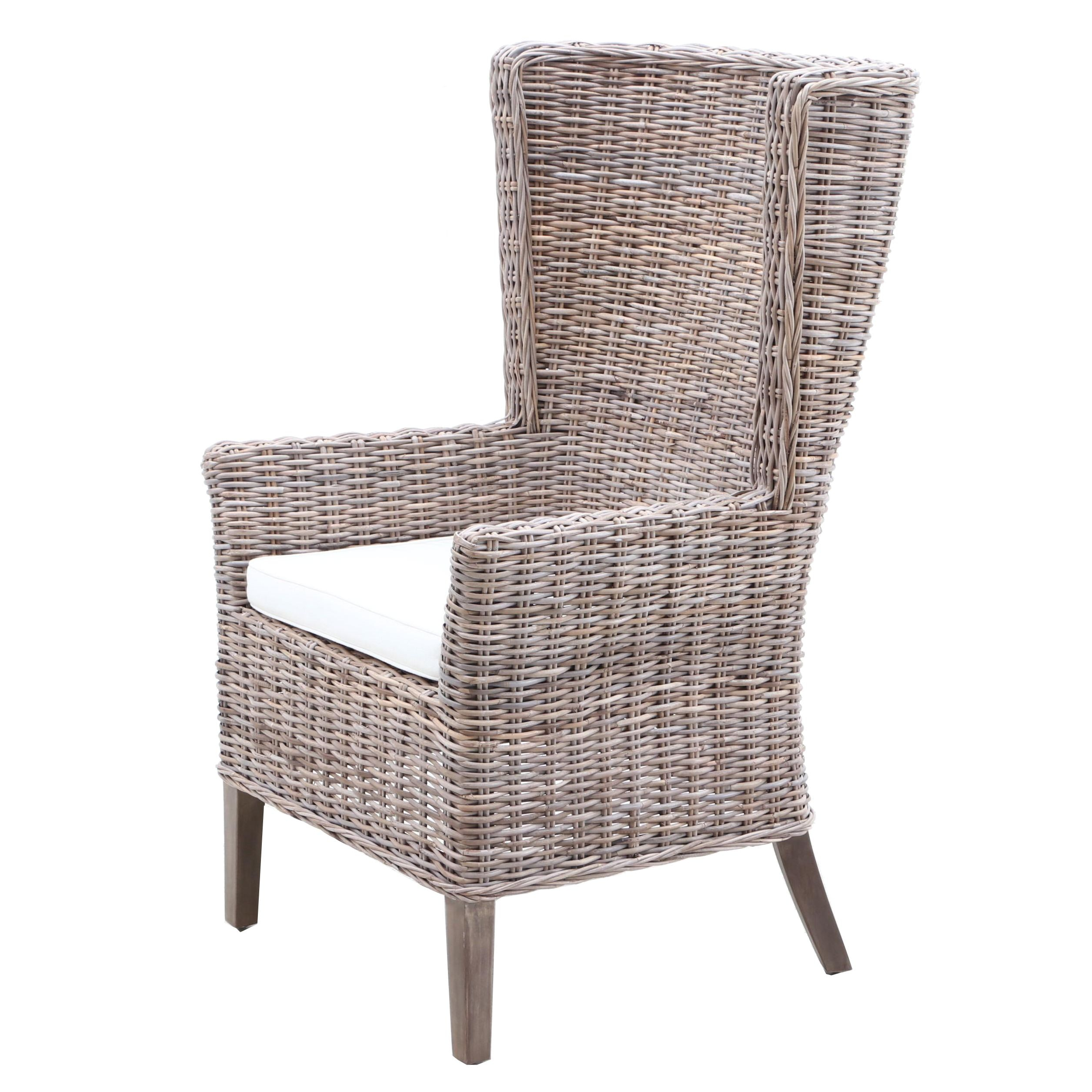 Woven Wicker Wingback Chair, Contemporary