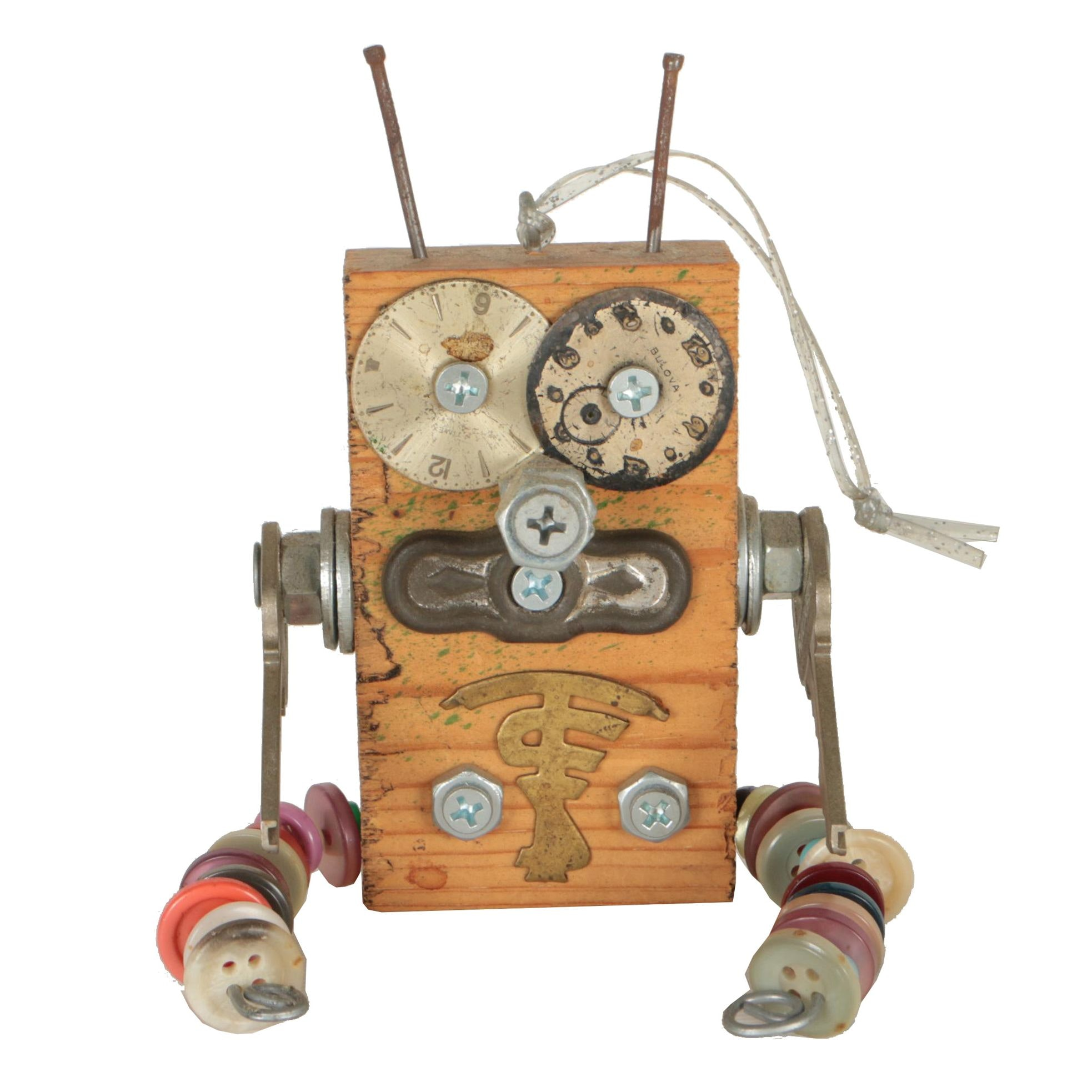 """Mark May Found Object Robot Sculpture """"Spencer"""""""