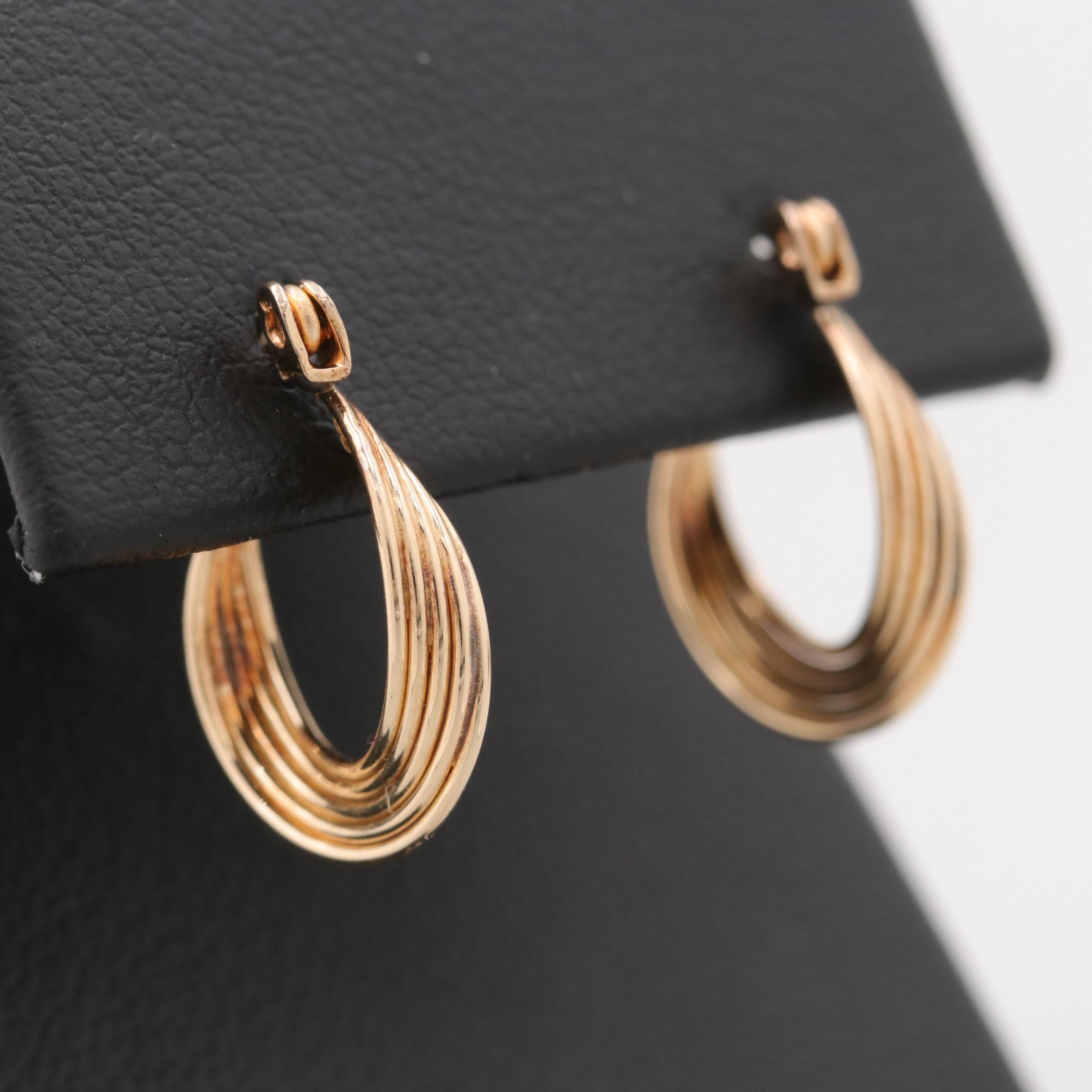 14K Yellow Gold Small Twist Hoop Earrings
