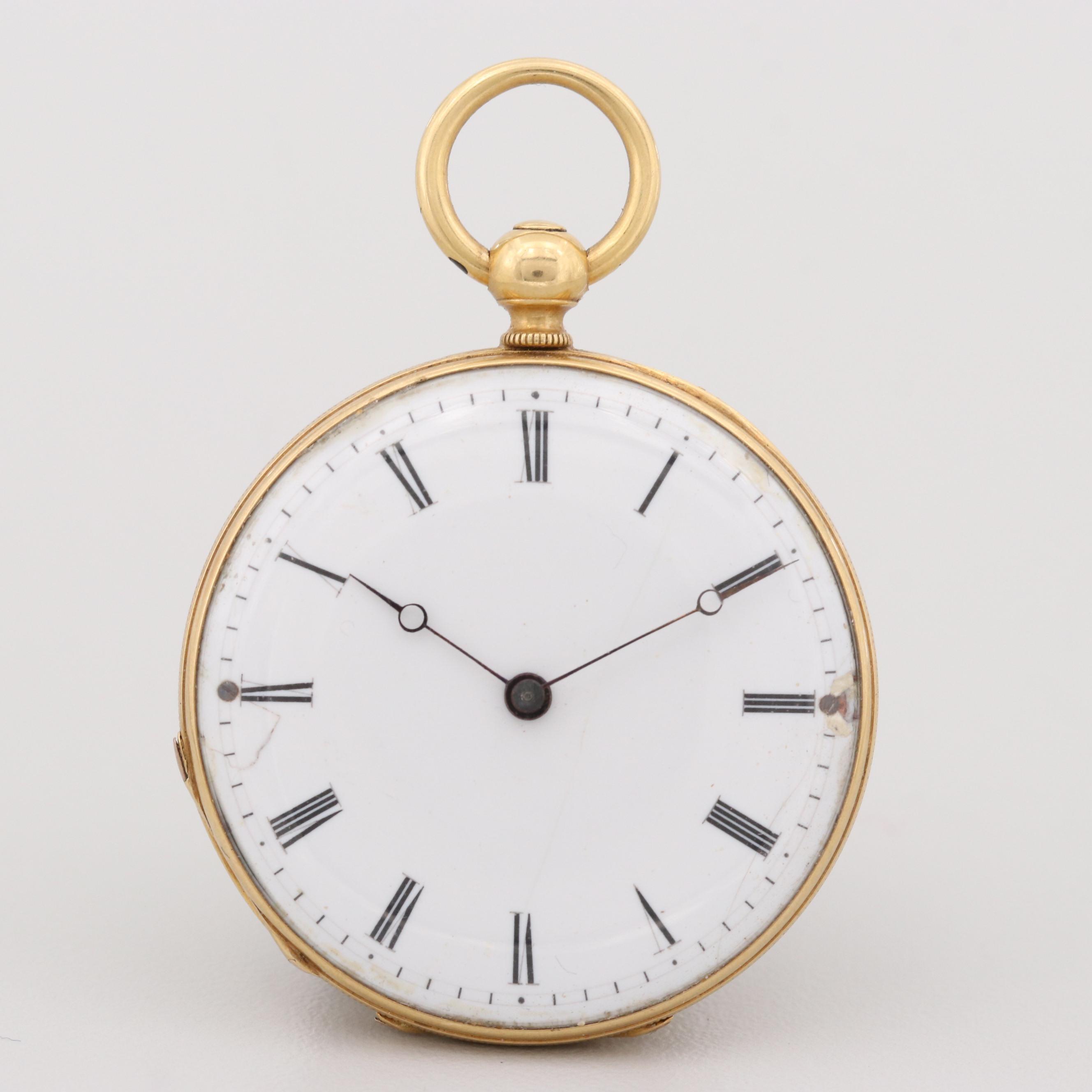 Swiss 18K Yellow Gold Key Wind and Set Pocket Watch