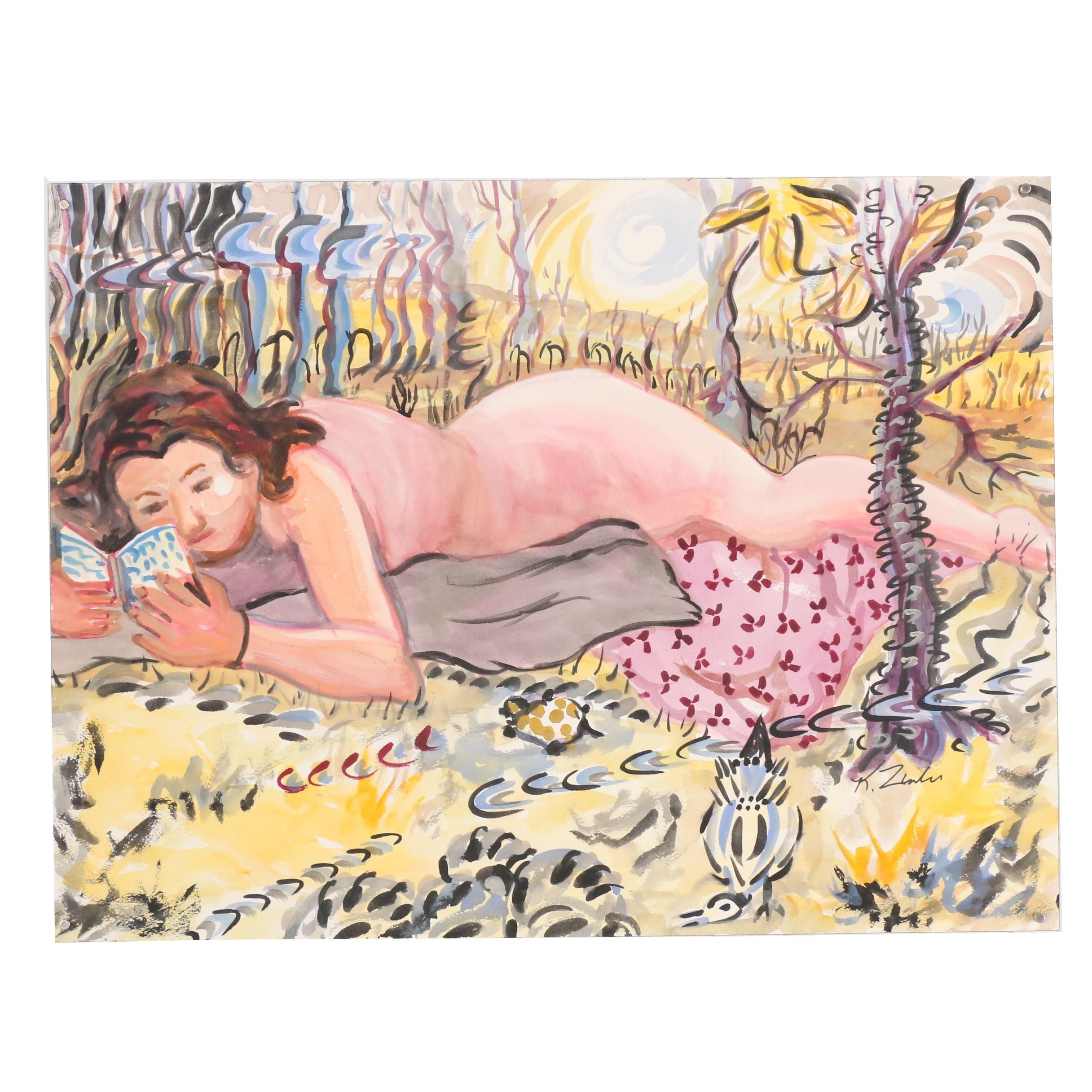 Kathleen Zimbicki Figural Watercolor and Gouache Painting