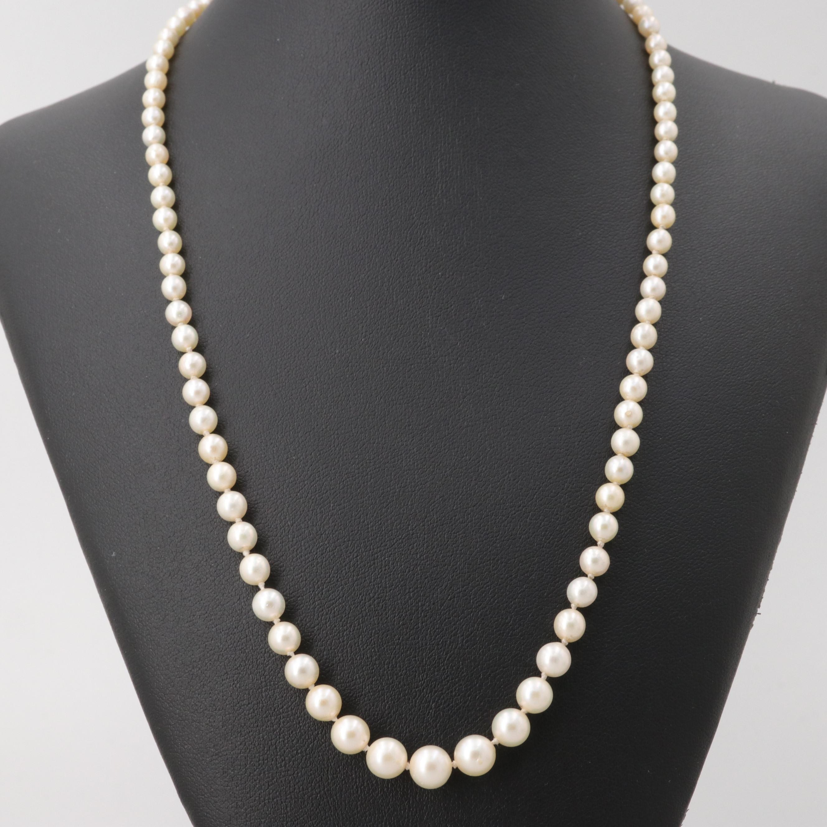 Vintage 14K White Gold Cultured Pearl Graduated Necklace with GIA Report