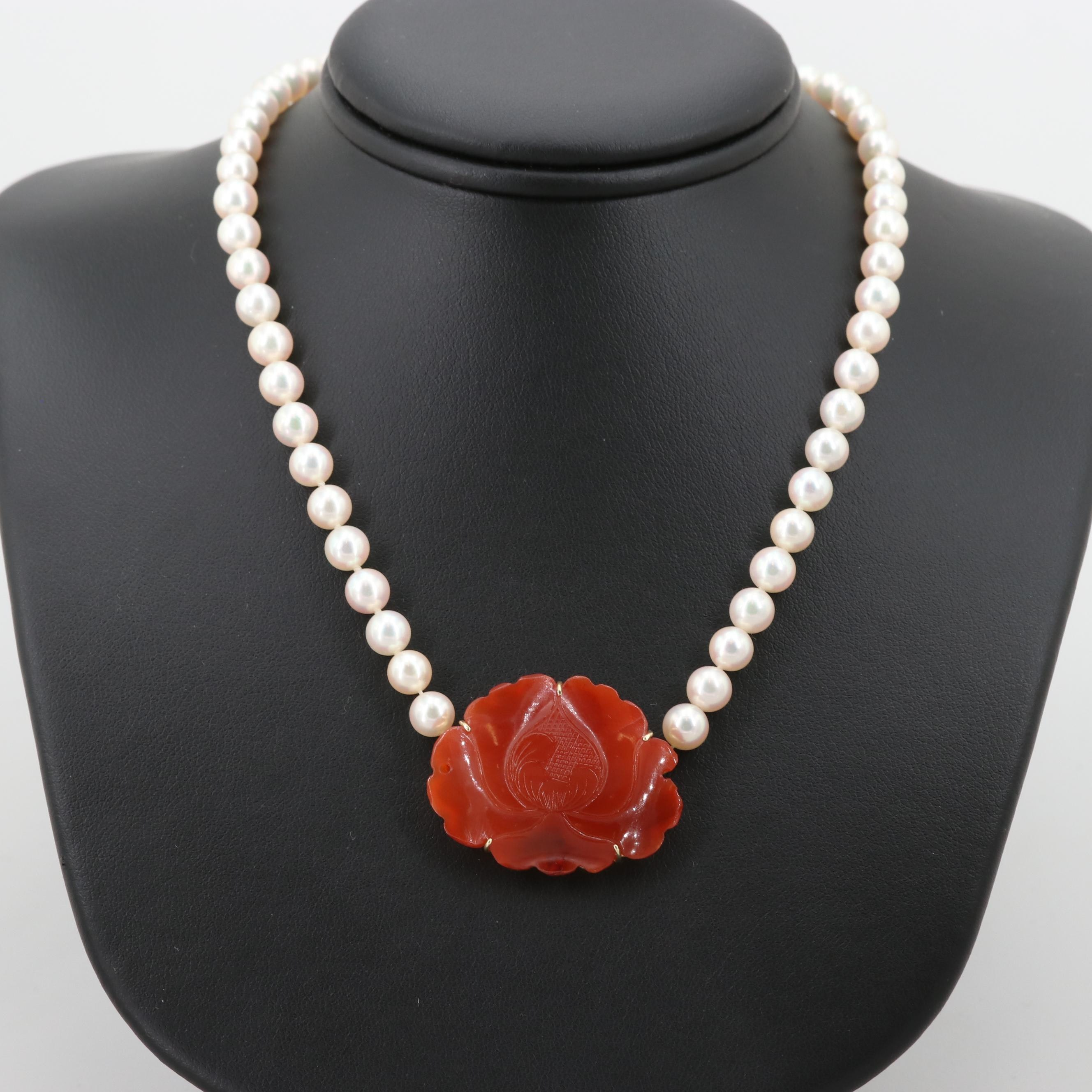 Cultured Pearl and Carved Carnelian Bead Necklace with 14K Yellow Gold