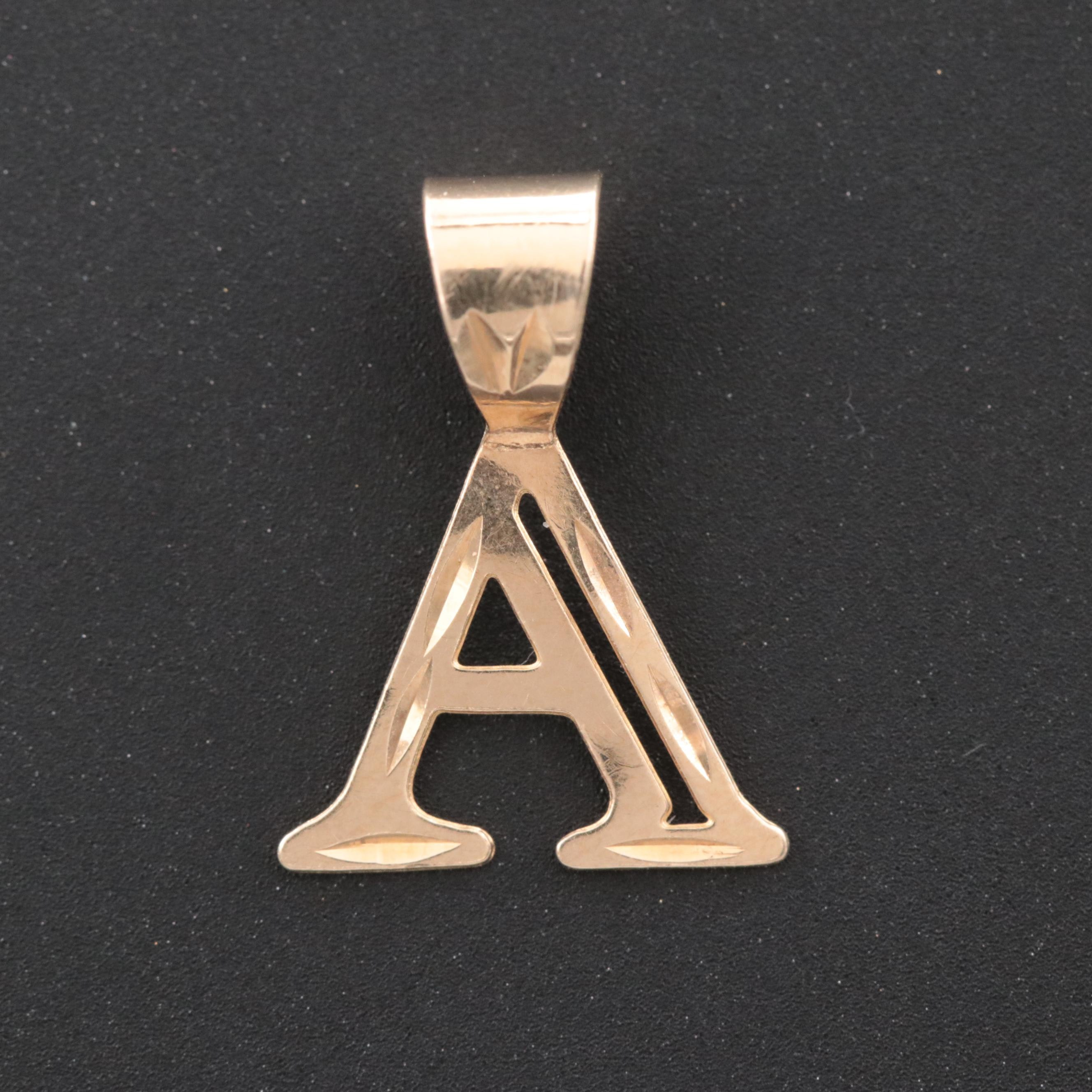 14K Yellow Gold Monogram A Pendant