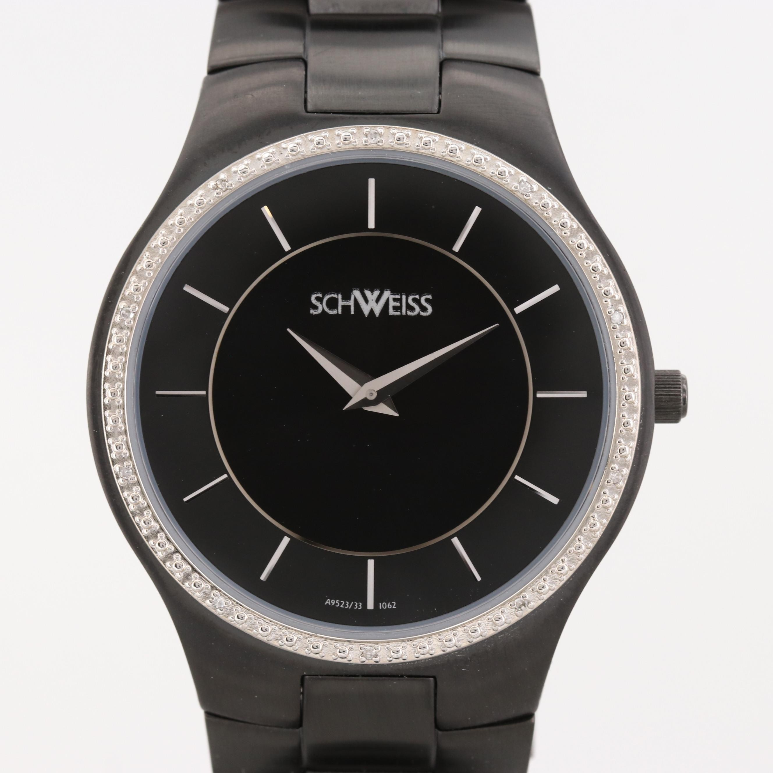 Schweiss Black Ion Plated Stainless Steel Quartz Wristwatch With Diamond Bezel