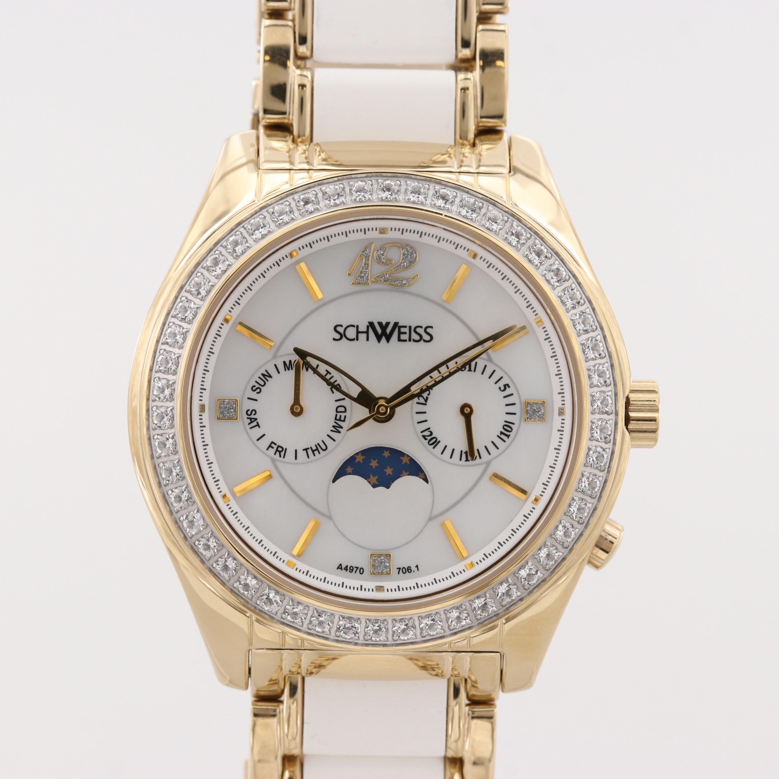 Schweiss Gold Tone Wristwatch With White Topaz Bezel