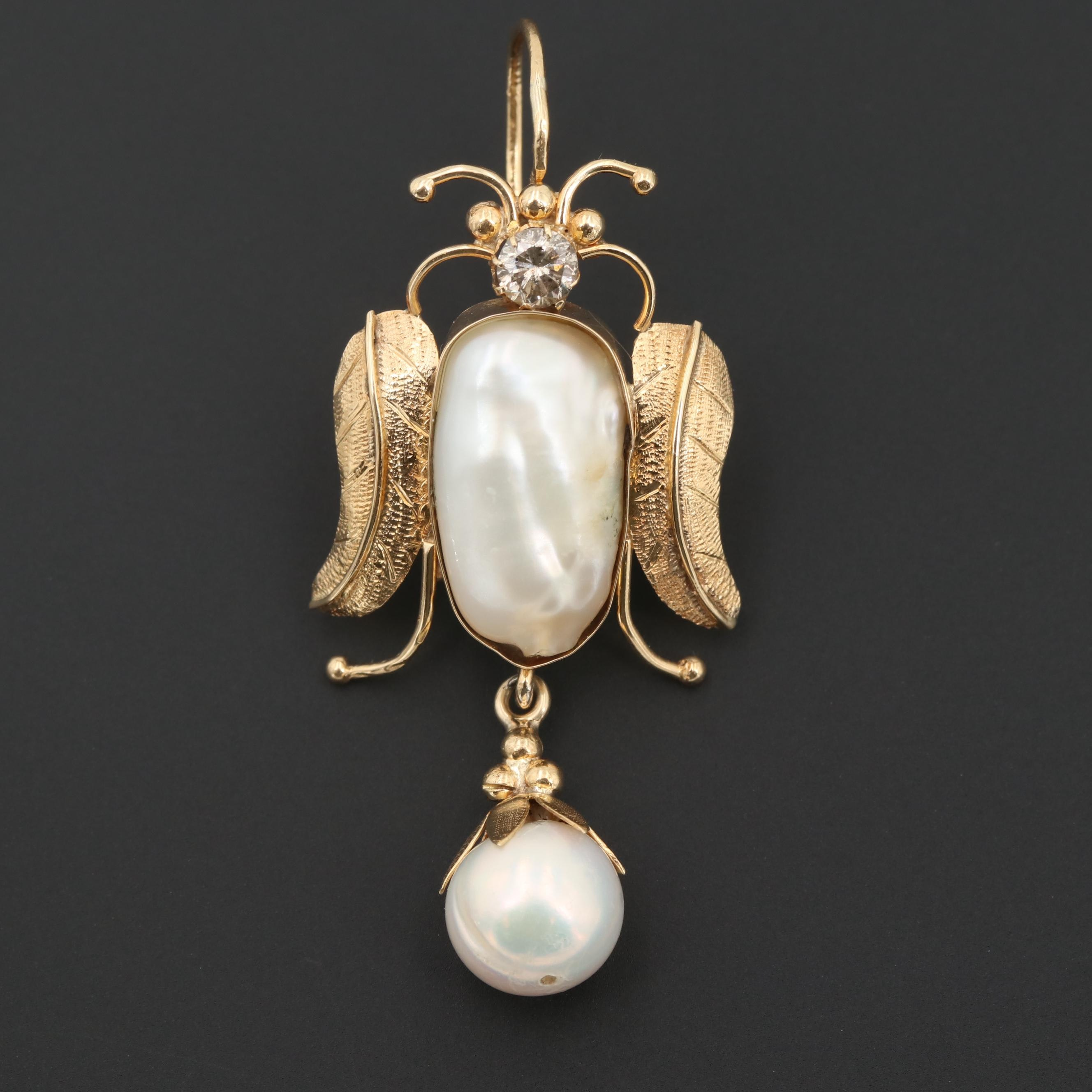 14K Yellow Gold Diamond and Cultured Pearl Enhancer Pendant