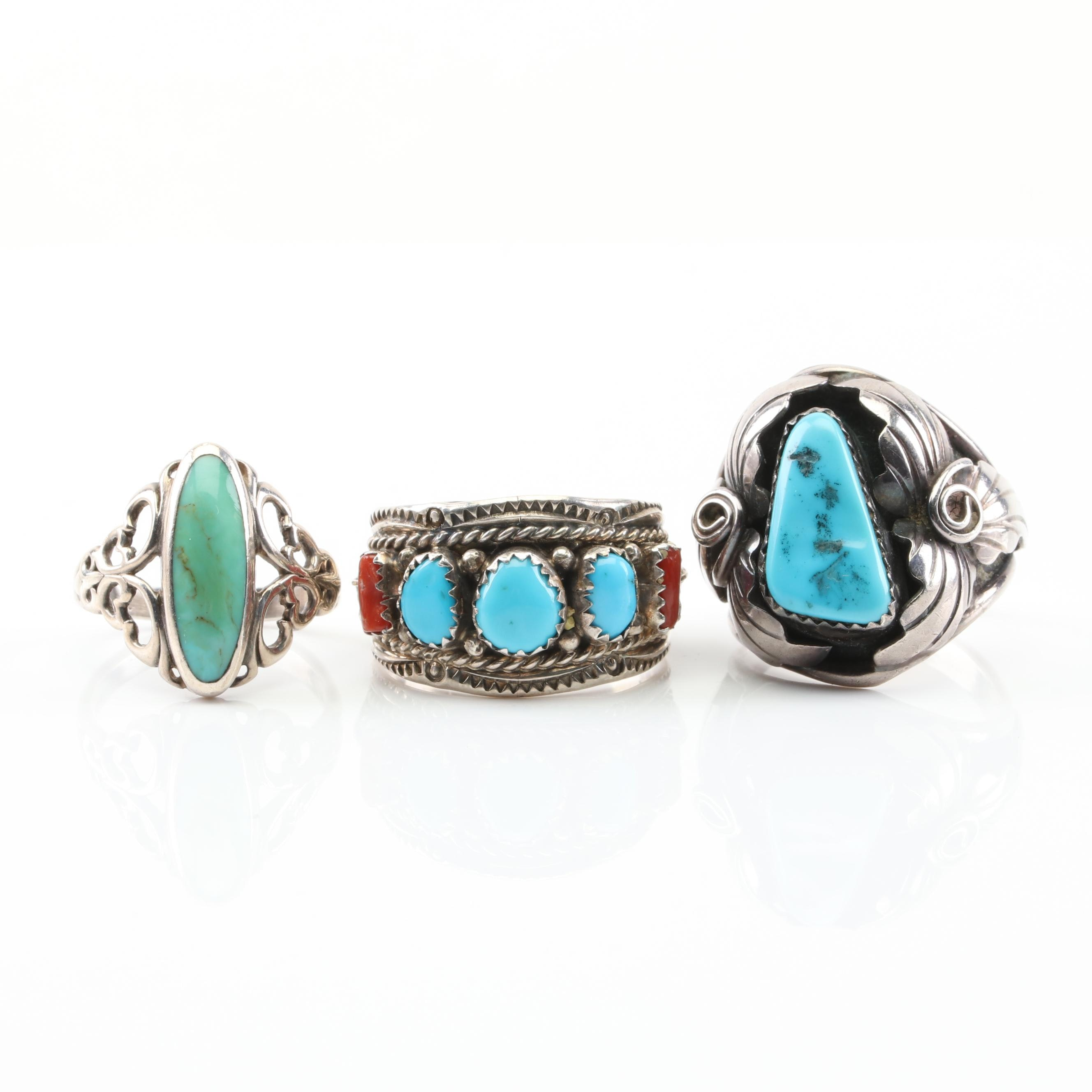 Sterling Silver Turquoise and Coral Rings
