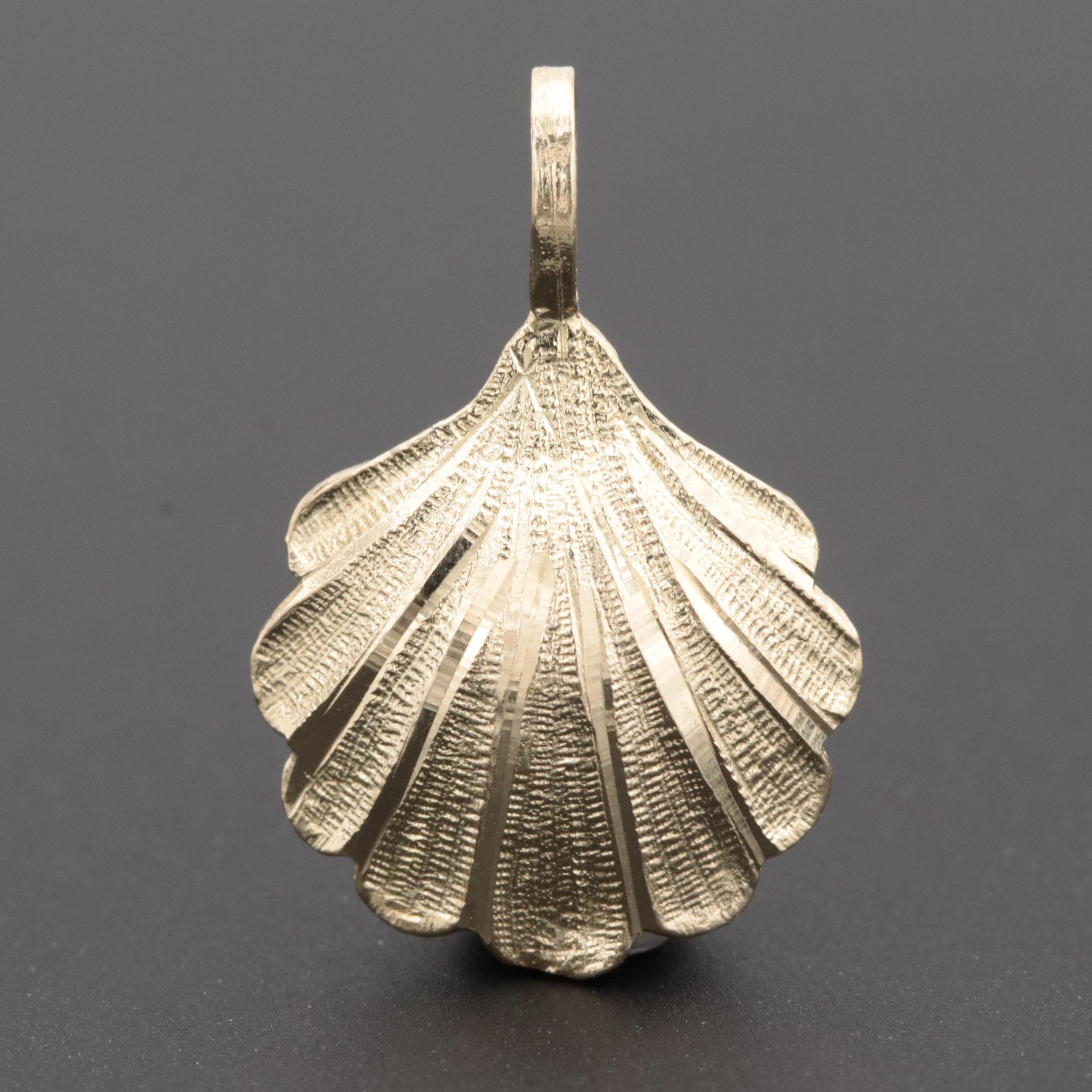 14K Yellow Gold Shell Pendant