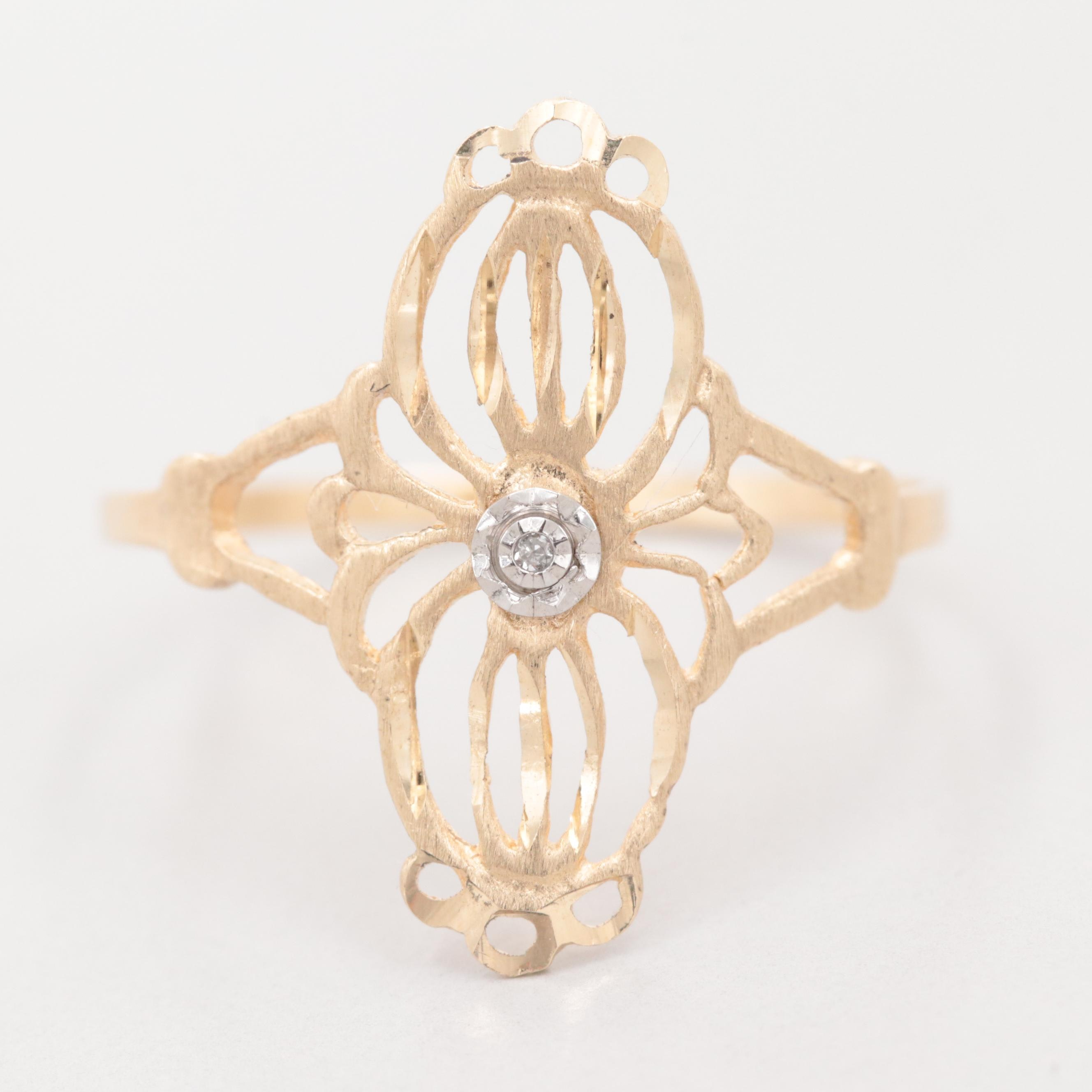 10K Yellow Gold Diamond Openwork Ring with White Gold Accent