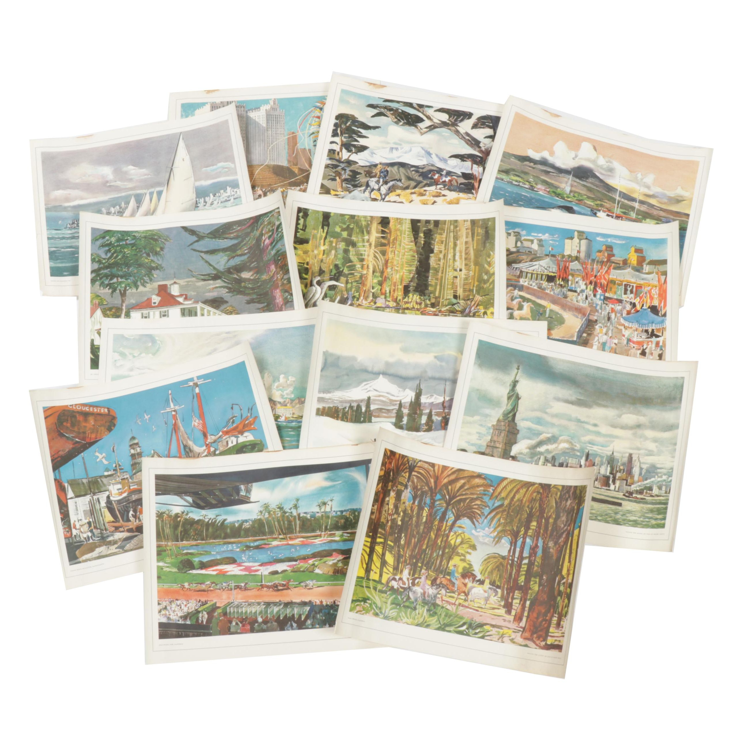 Collection of Landscape Offset Prints by Millard Sheets