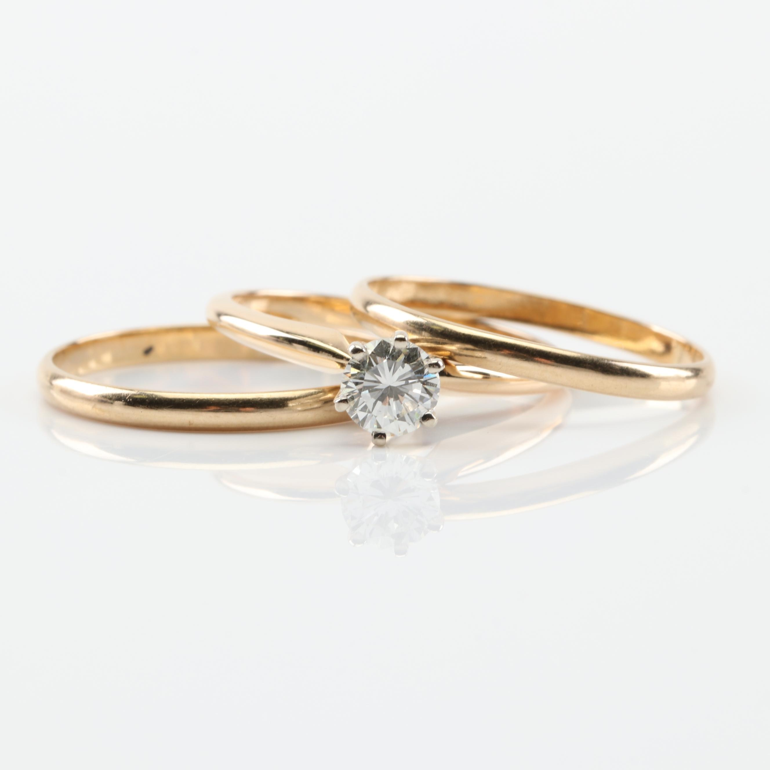 14K Yellow Gold Diamond Ring and 2.00 mm Bands