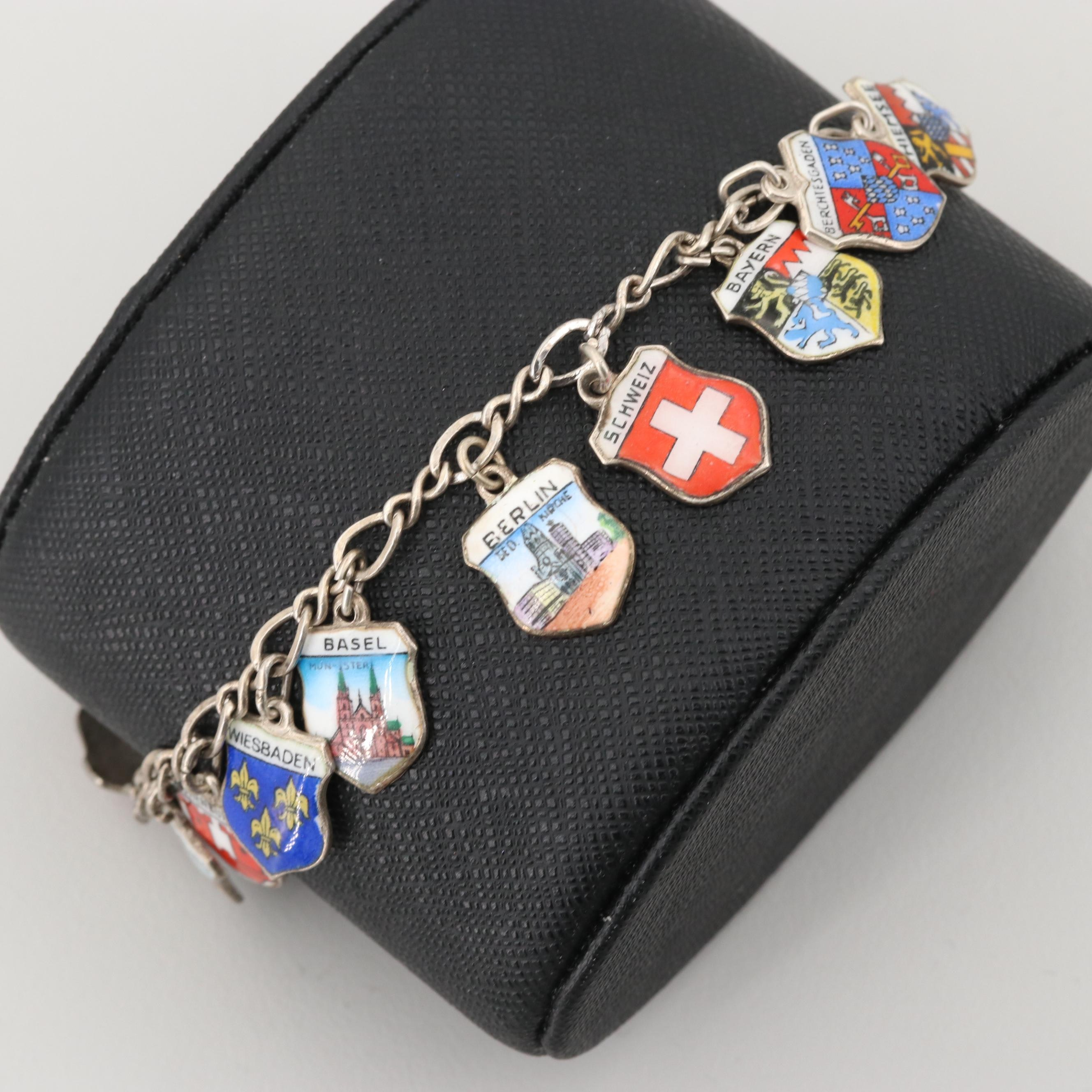 Vintage Beau Sterling Silver Charm Bracelet with German and Swiss Travel Charms