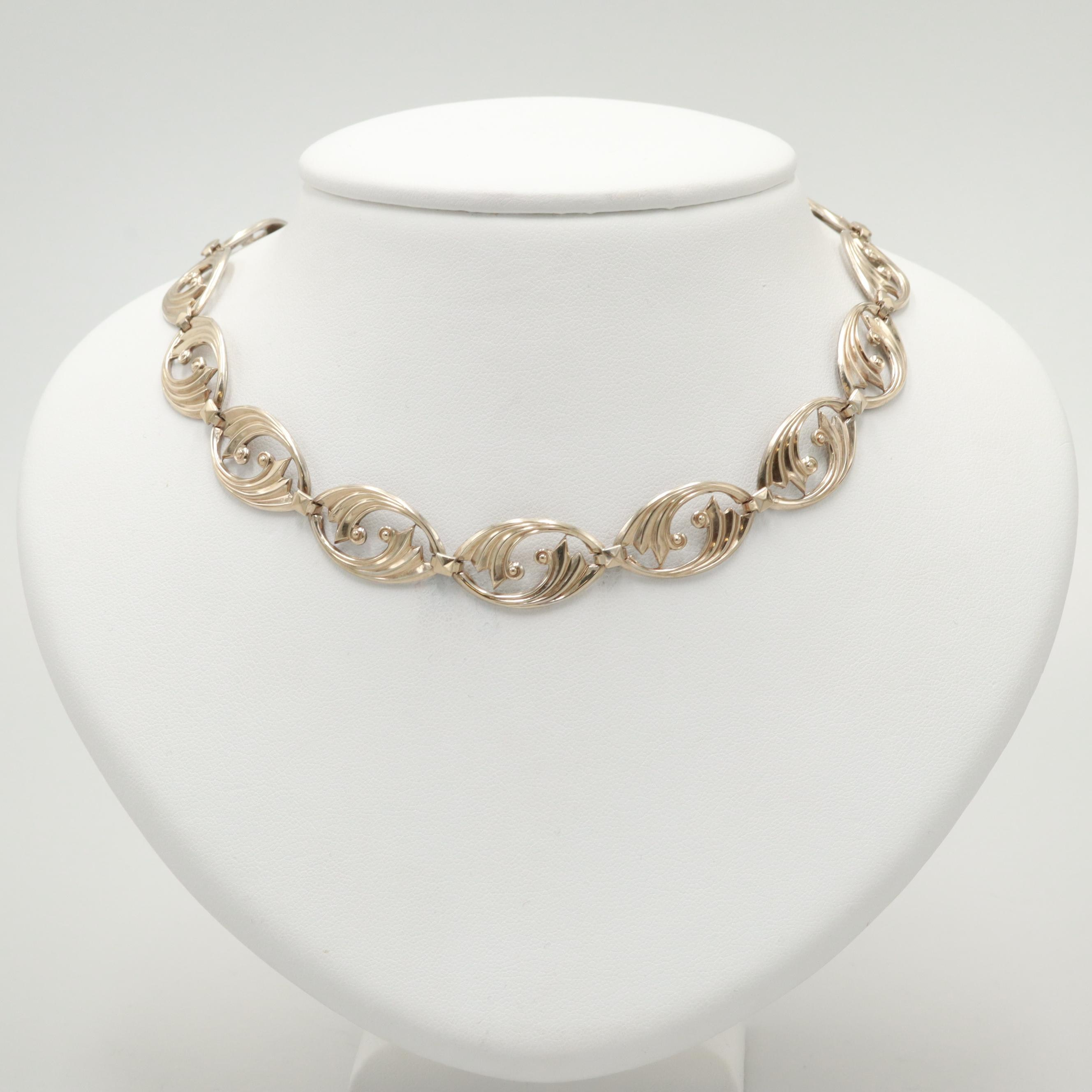 Vintage Symmetalic Gold Wash on Sterling Silver Necklace