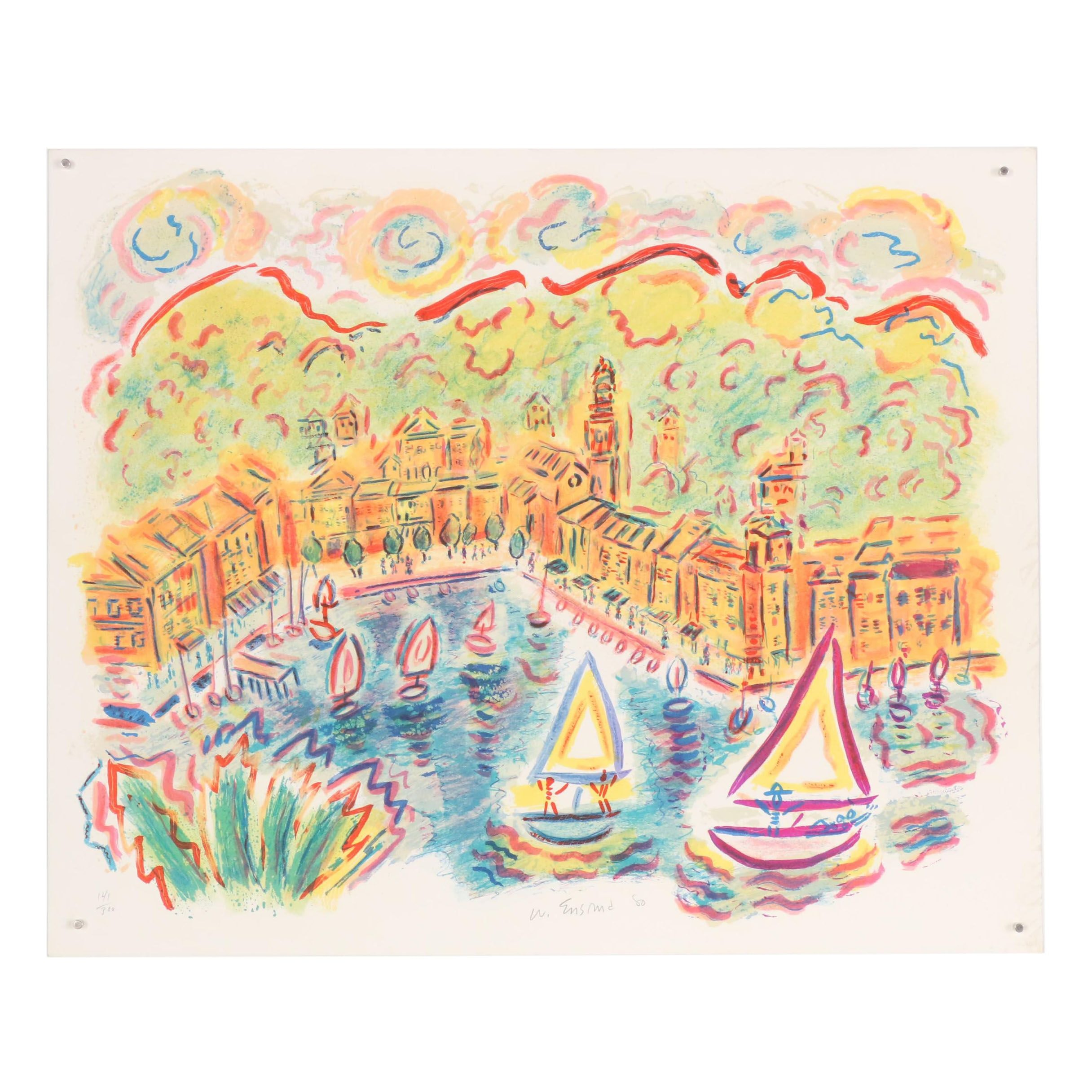 "Wayne Ensrud Color Lithograph ""Portofino"", 1980"