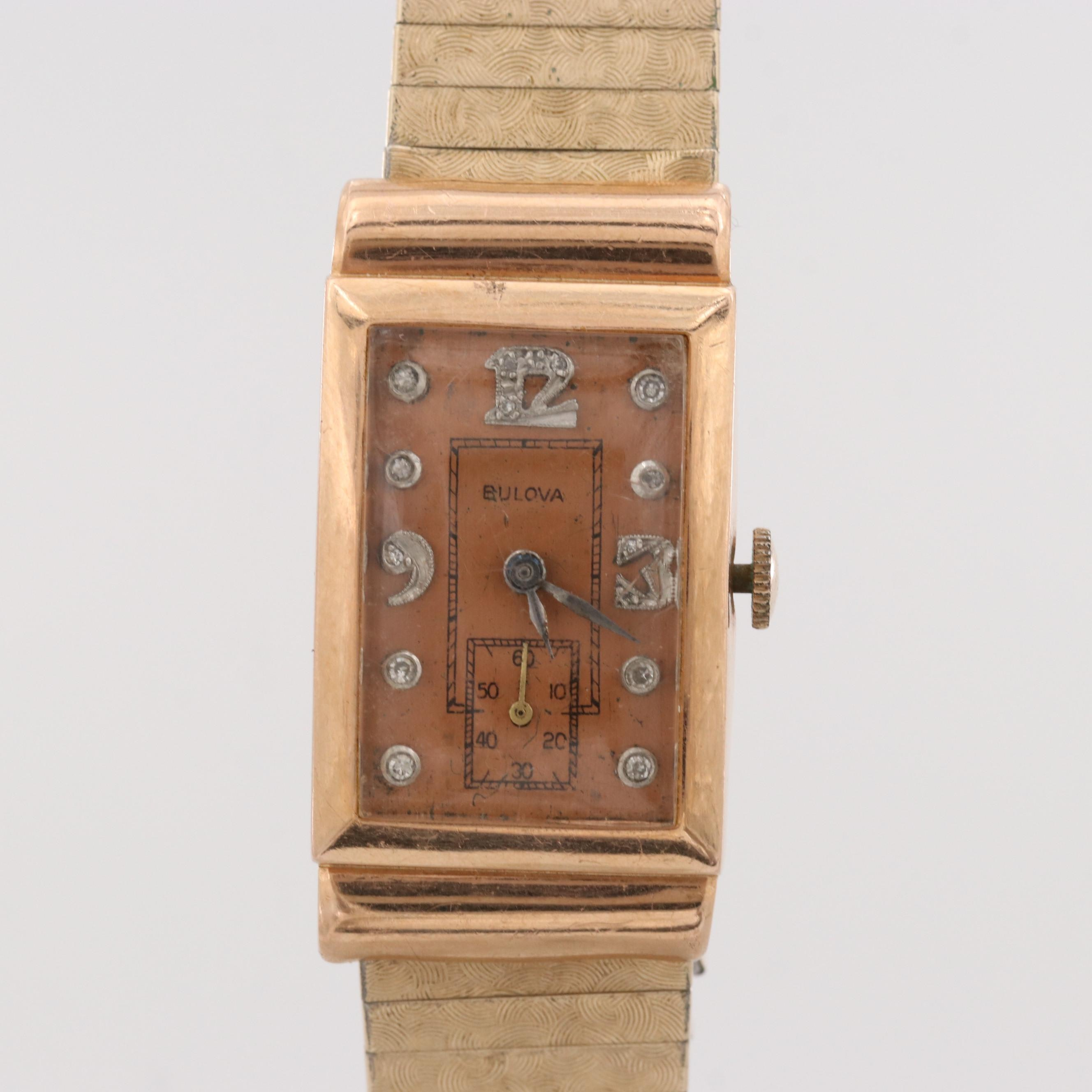 Vintage Bulova 14K Rose Gold Wristwatch With Diamond Dial, Circa 1945