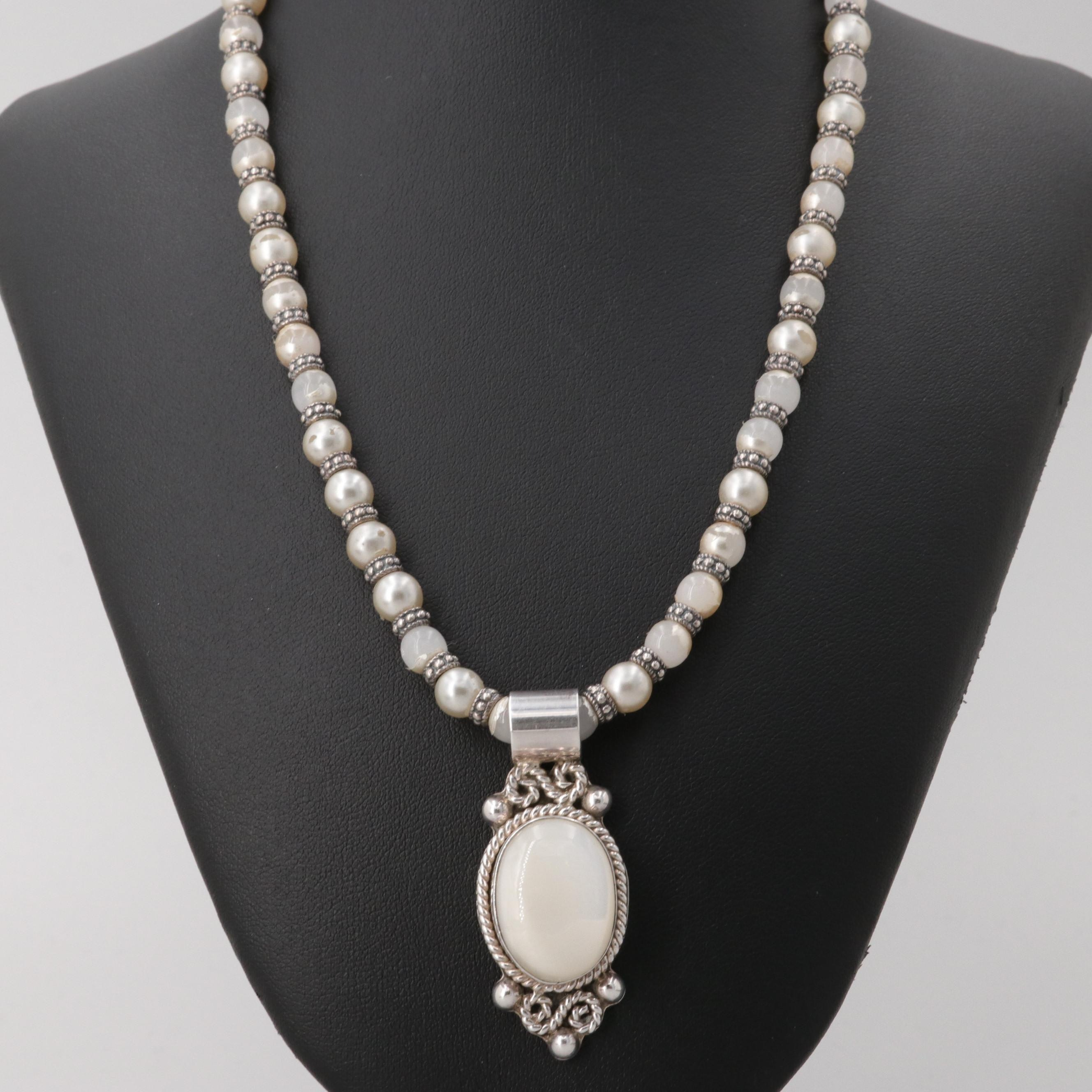 Taxco Sterling Silver Mother of Pearl Necklace