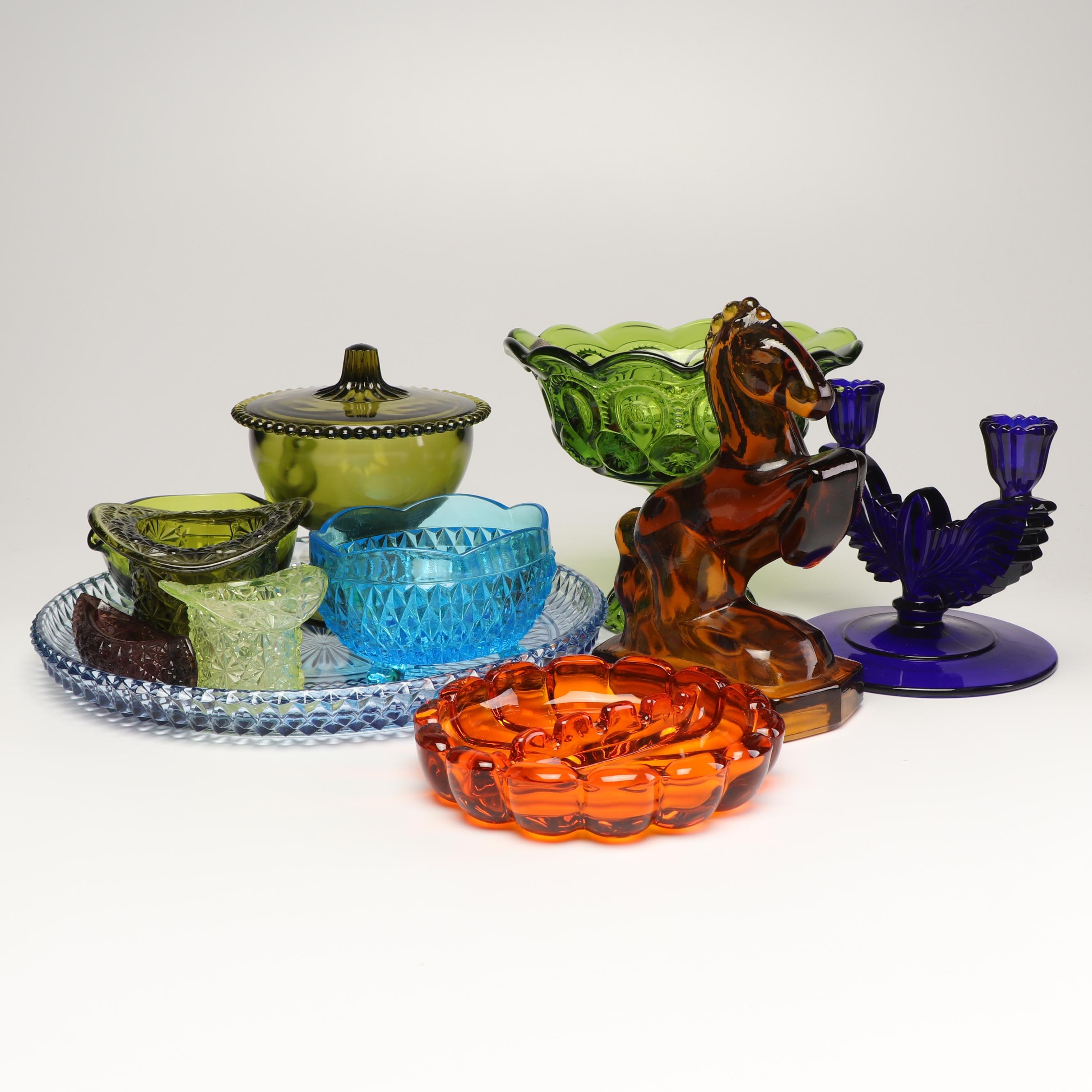 Fenton and Other Pressed Glass Tableware and Decor, 1920s-1970s