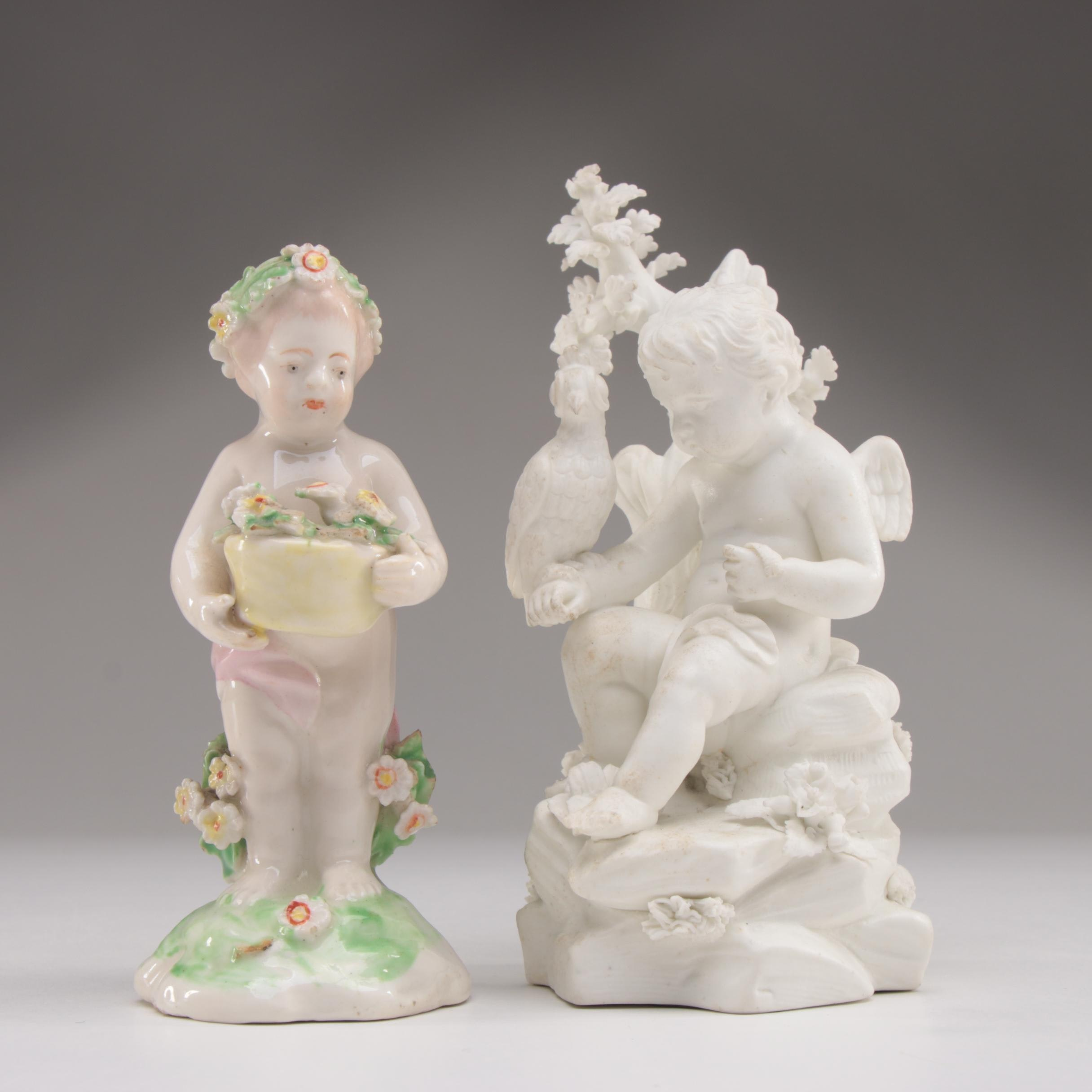 Derby Bisque Figure with Derby Porcelain Figure, Antique