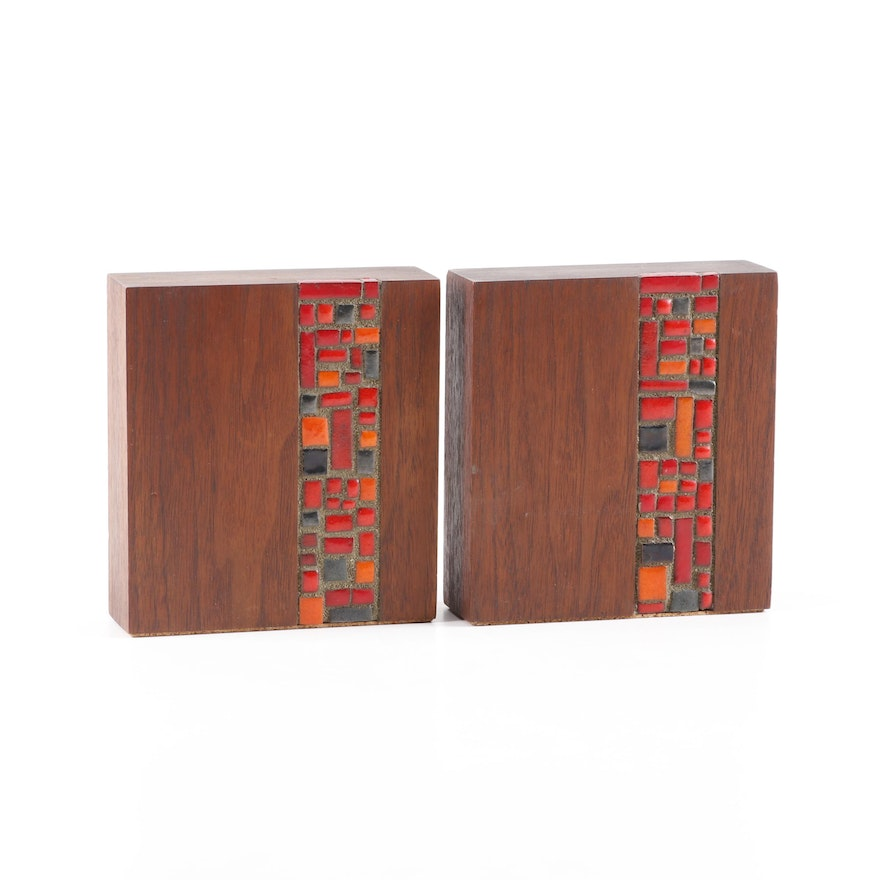 Mid-Century Modern Teak and Mosaic Tile Book Ends