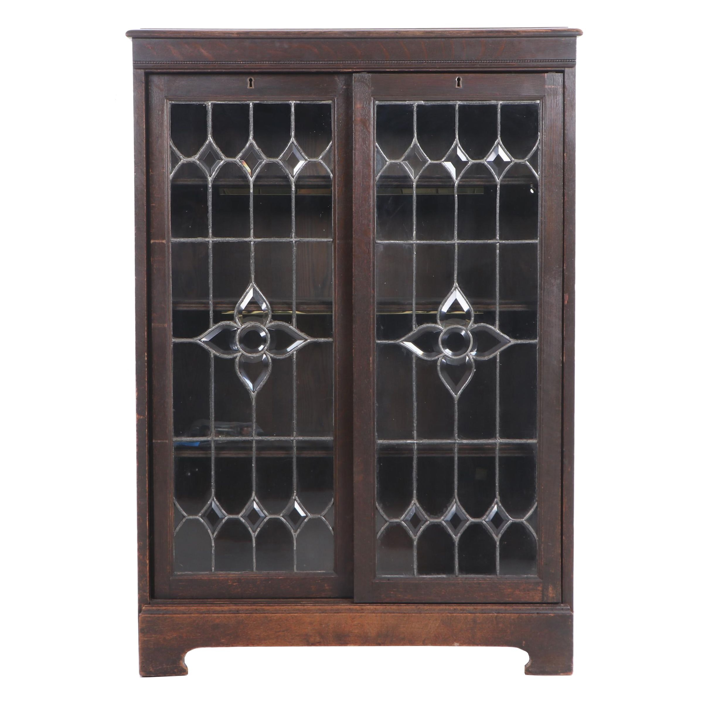 Arts and Crafts Oak Cabinet with Sliding, Leaded Glass Doors, Circa 1900