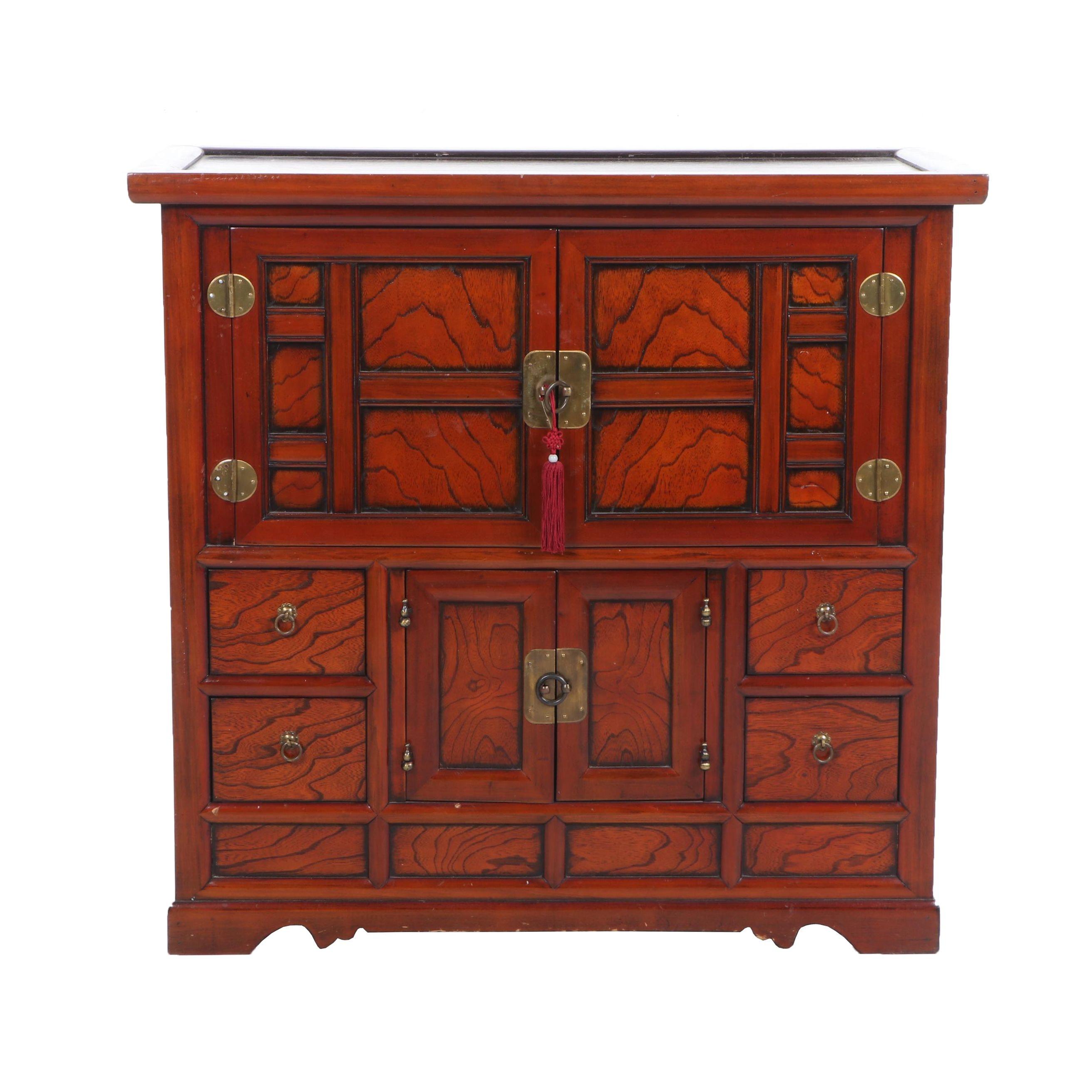 Korean Exotic Hardwood Entertainment Cabinet, Contemporary