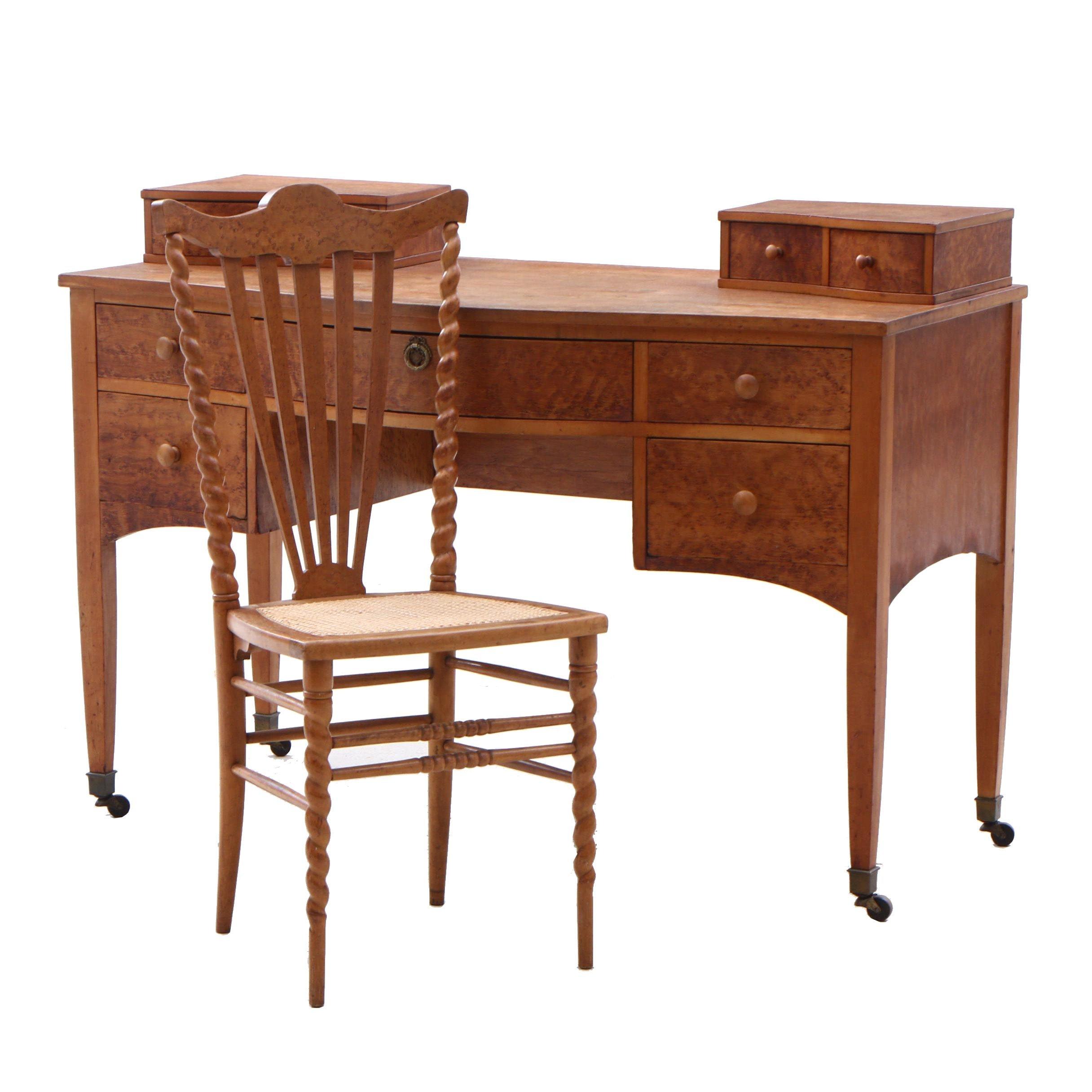 Late Victorian Birdseye Maple Writing Desk, Late 19th Century