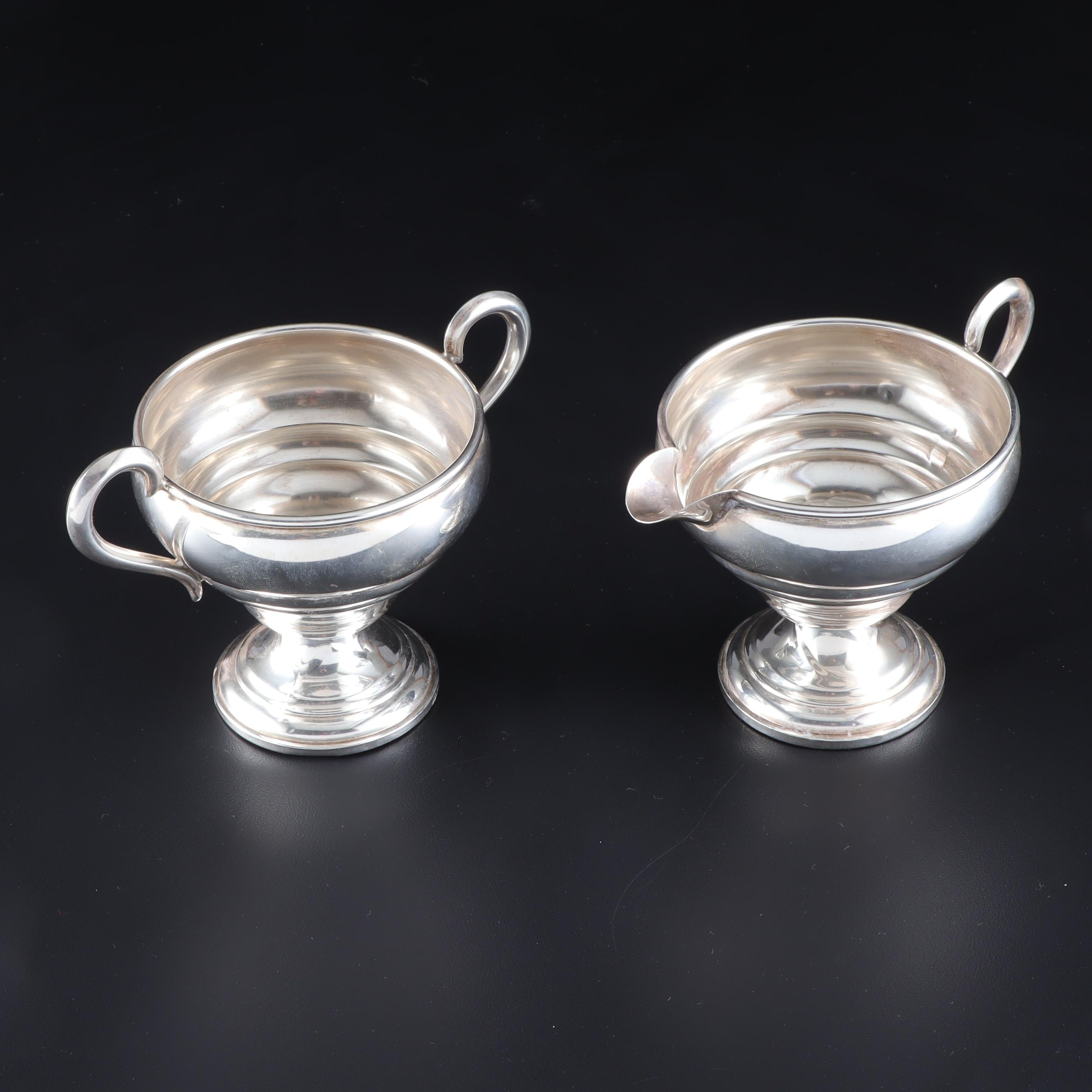 Empire Weighted Sterling Silver Cream and Sugar Set
