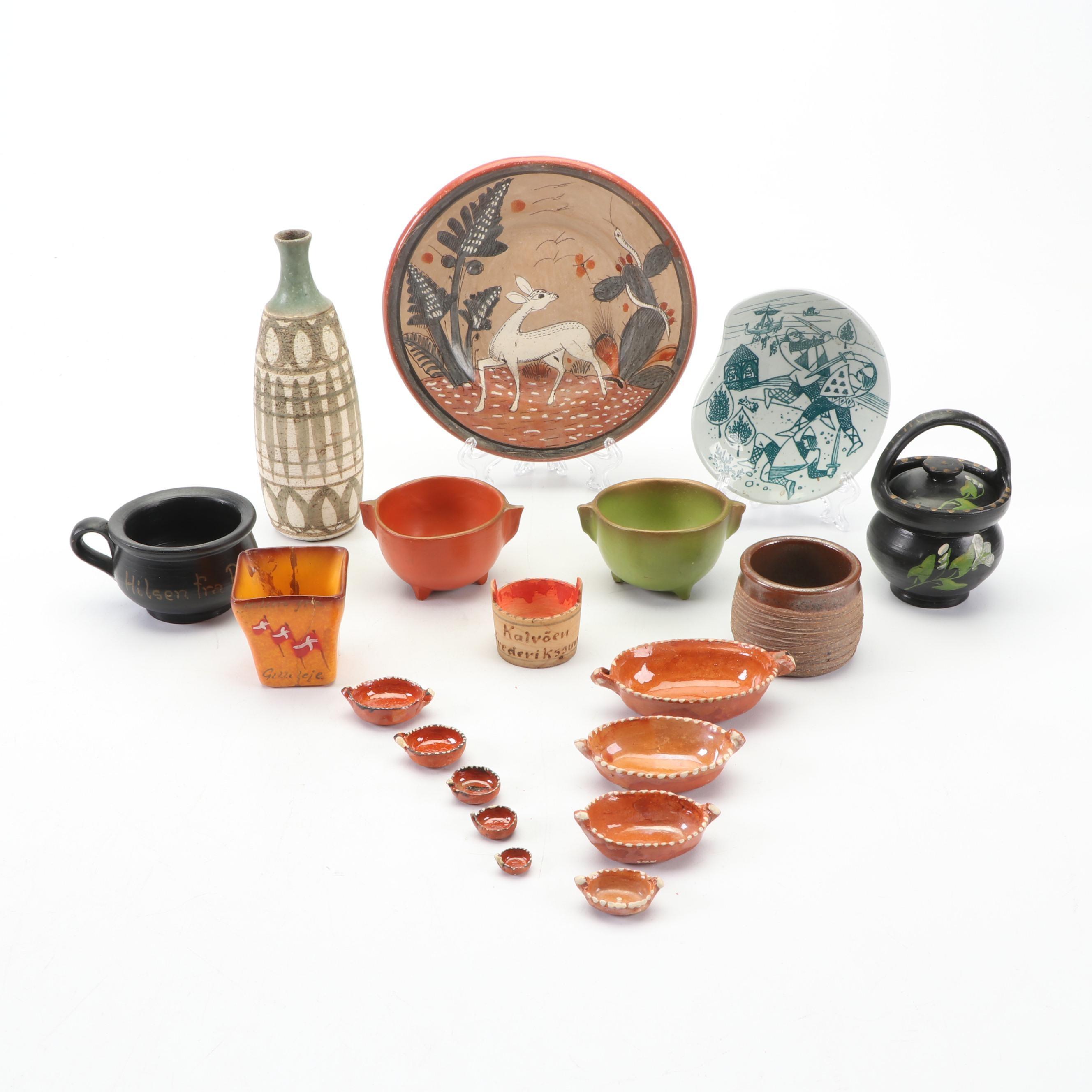 Scandinavian, Mexican and American Handmade Folk Art Pottery Decor