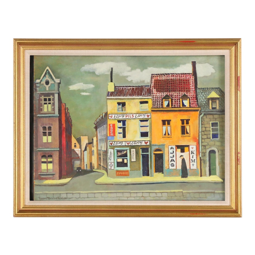 """Yvonne Twining Humber Acrylic Painting """"Street in Brussels"""""""