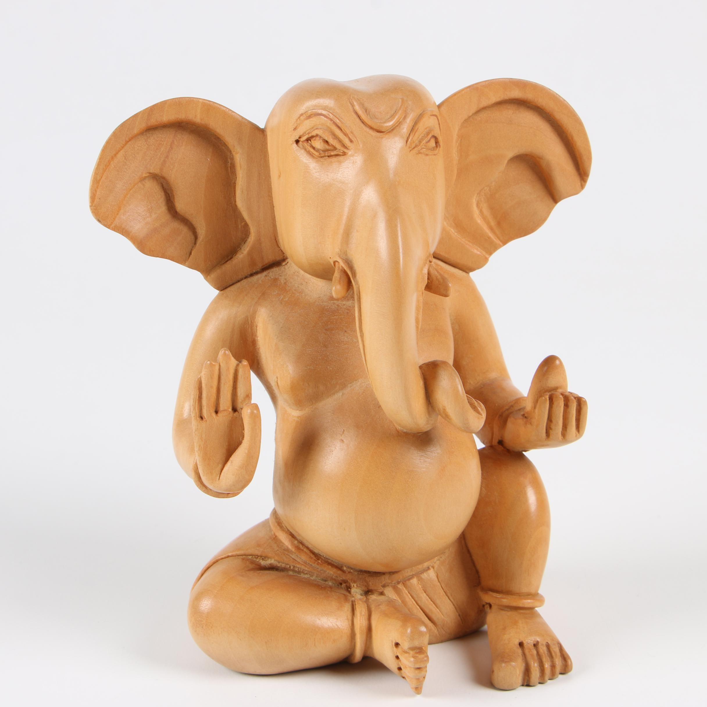 Carved Wooden Figure of  Ganesh