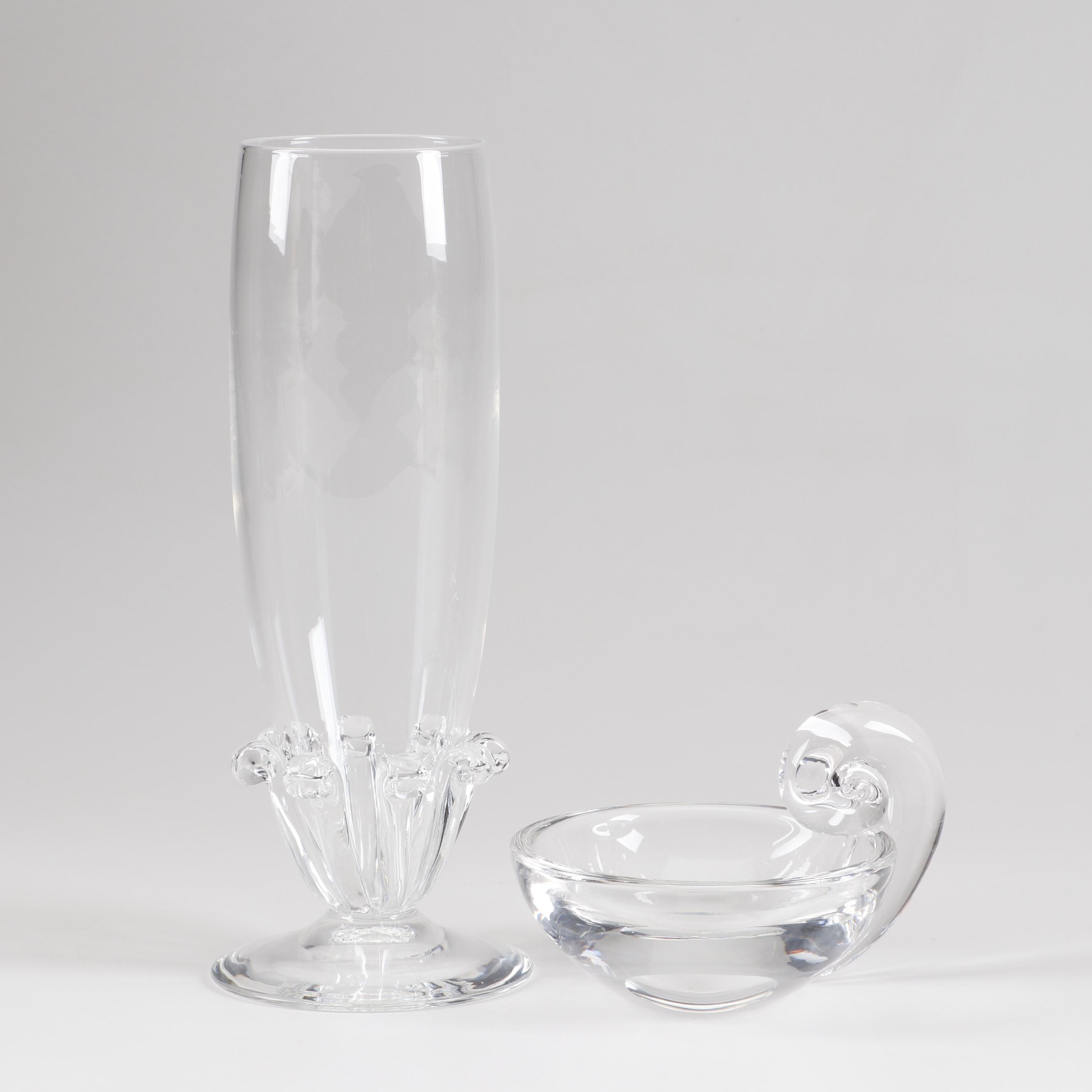 Steuben Crystal Pedestal Vase and Snail Handle Candy Dish