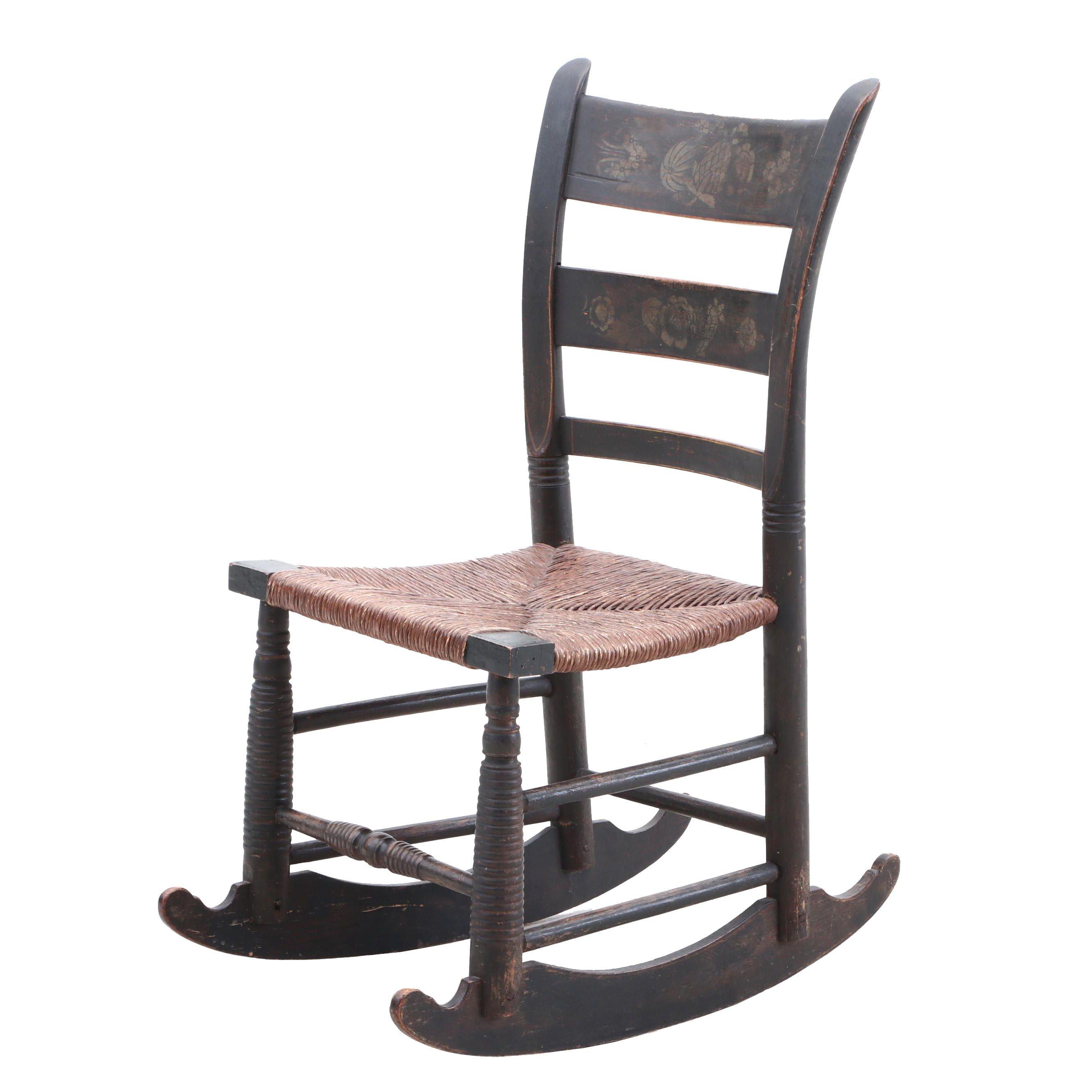 Ebonized and Gilt Stenciled Rocking Chair, Mid19th Century