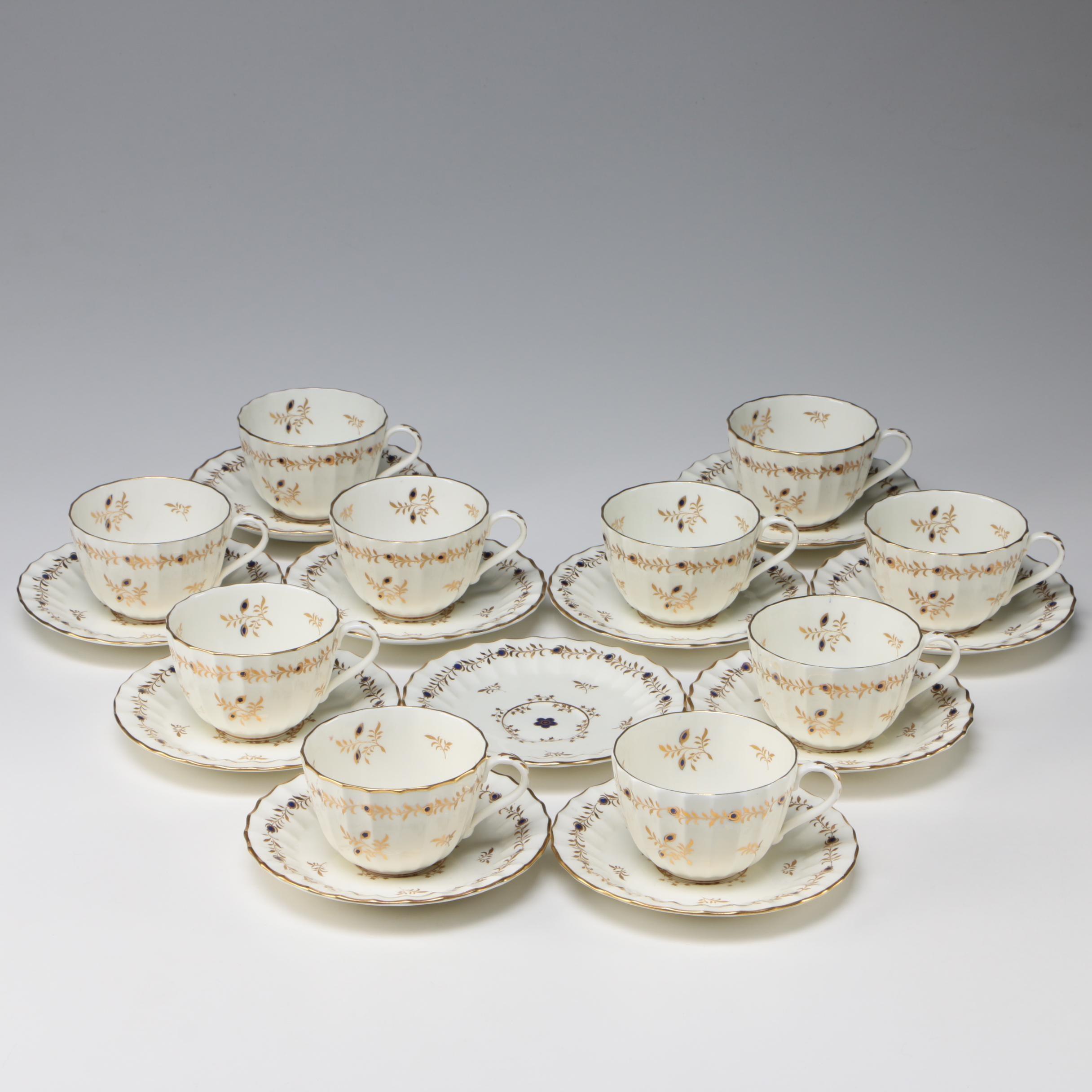 "Royal Worcester ""Cumberland"" Bone China Teacups and Saucers, 1952–1953"