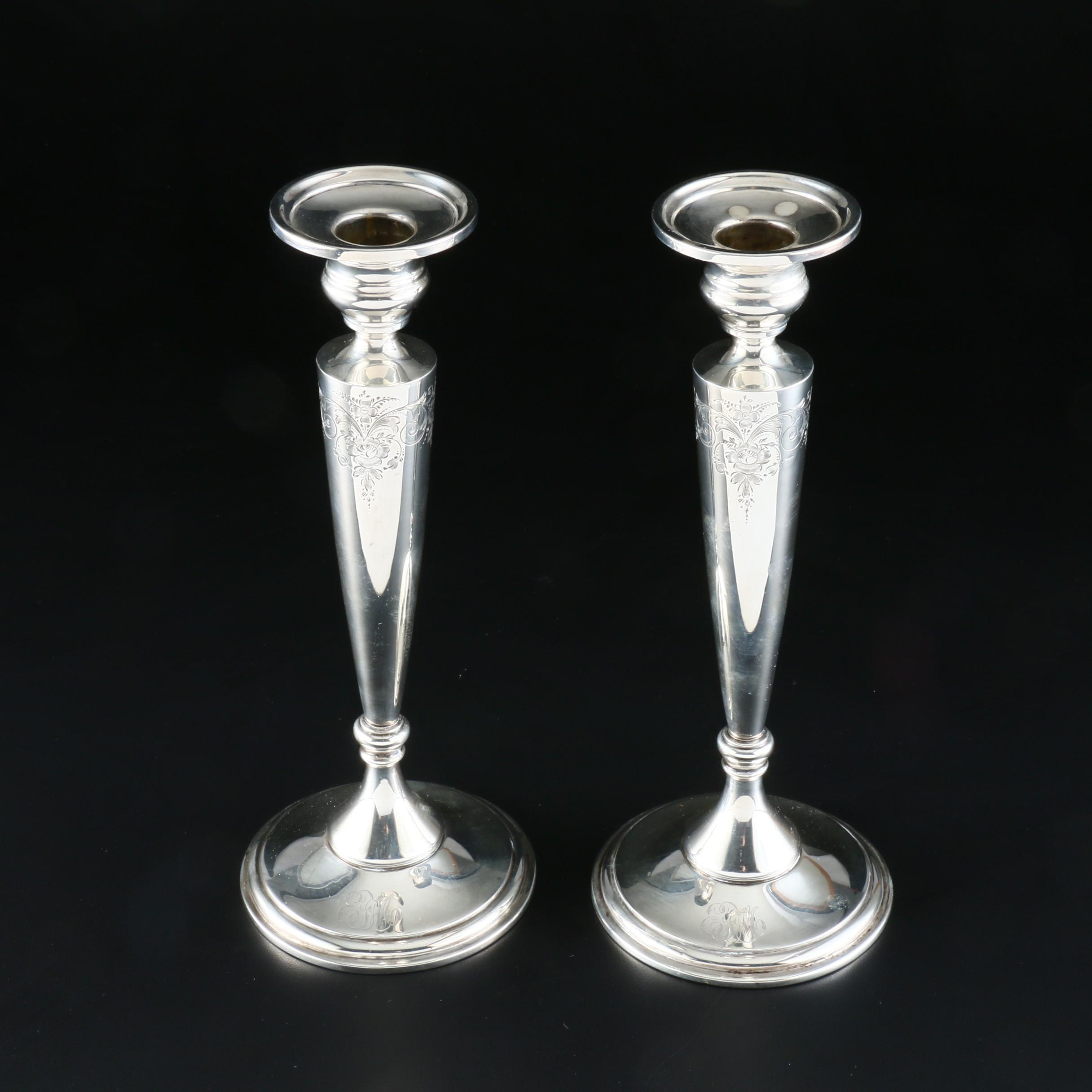 George A. Henckel Weighted Sterling Silver Candlesticks
