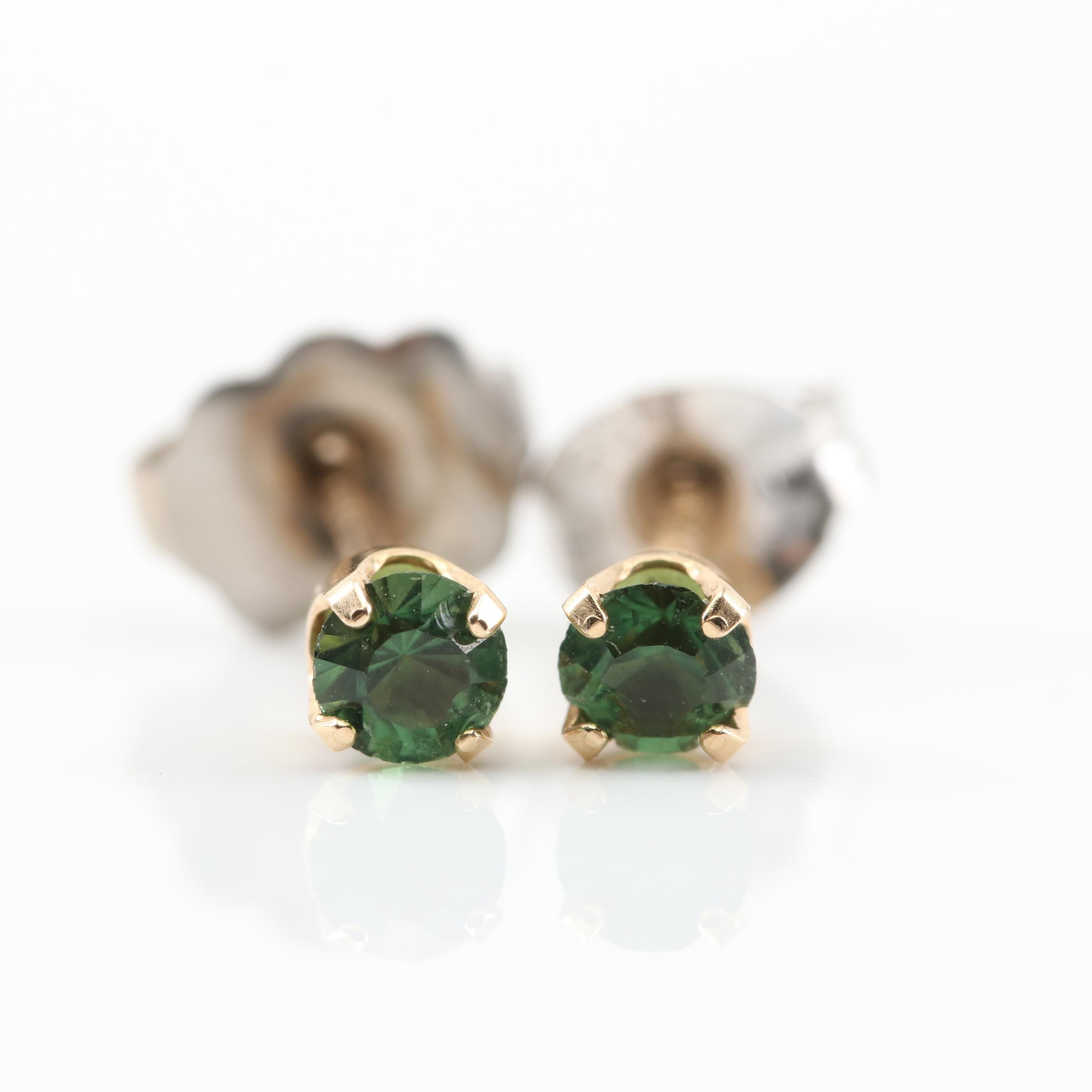 14K Yellow Gold Simulated Stone Stud Earrings