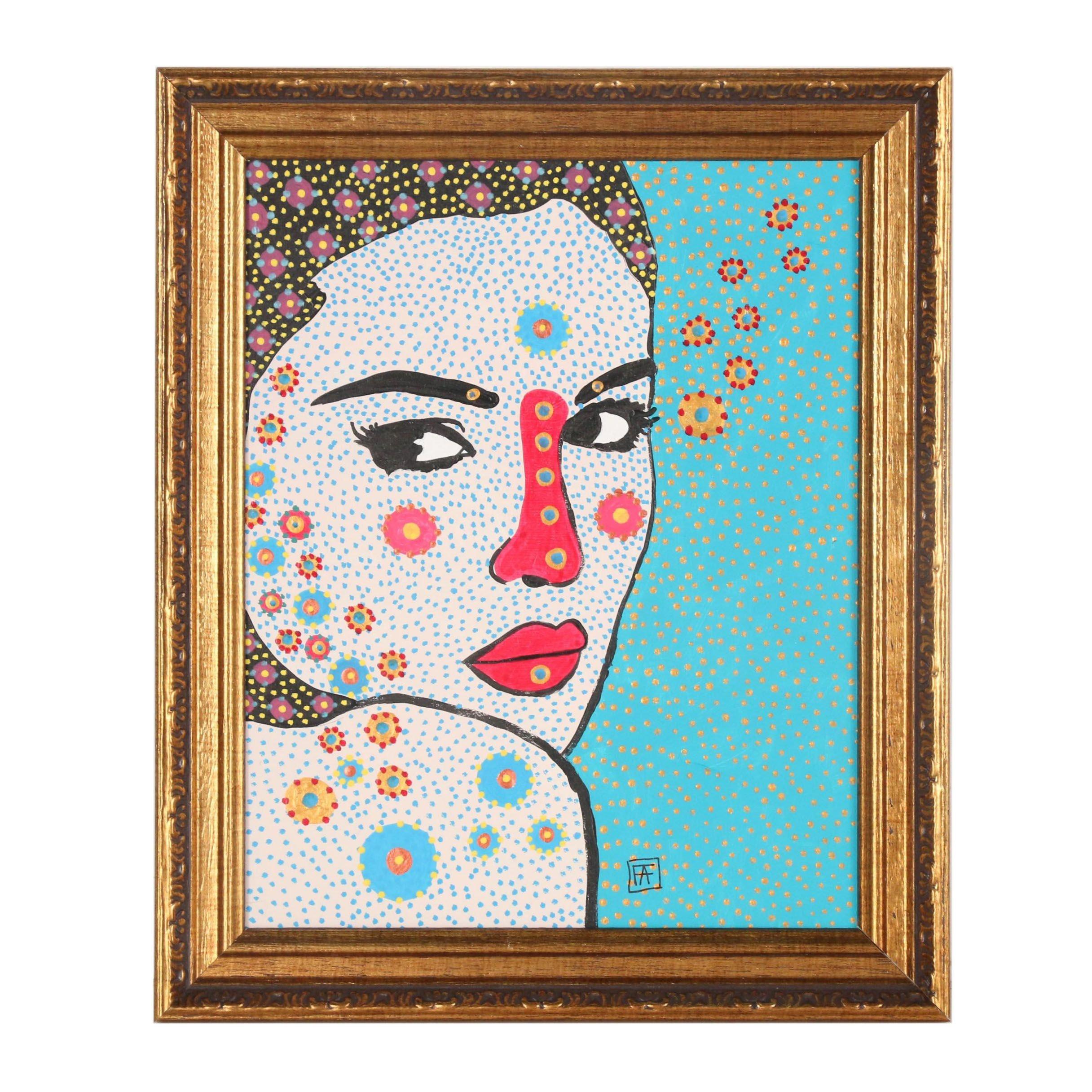 Francois Aguiard Abstract Acrylic Portrait of Monica Bellucci