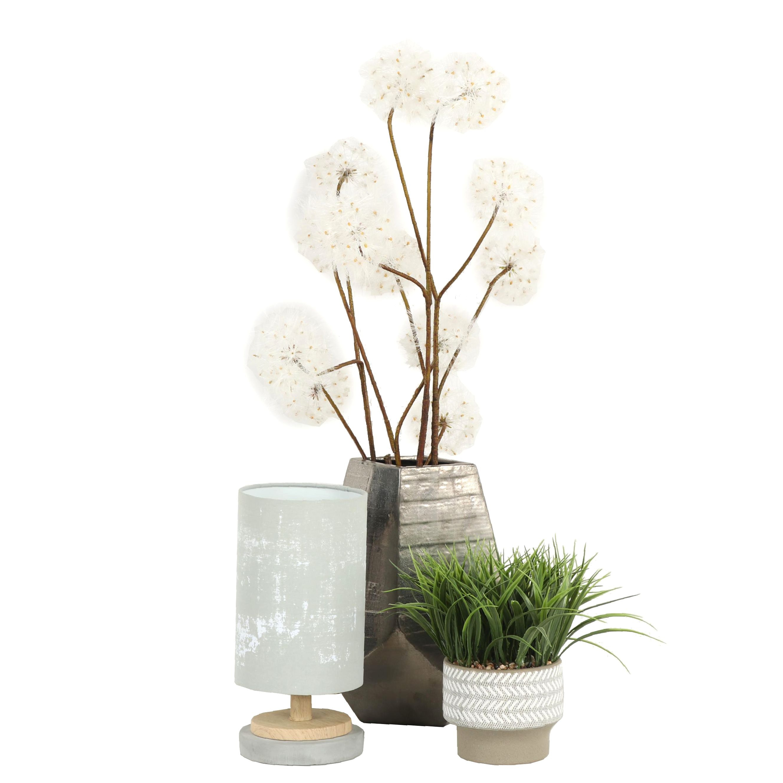 Artificial Plants with Cylinder Desk Lamp