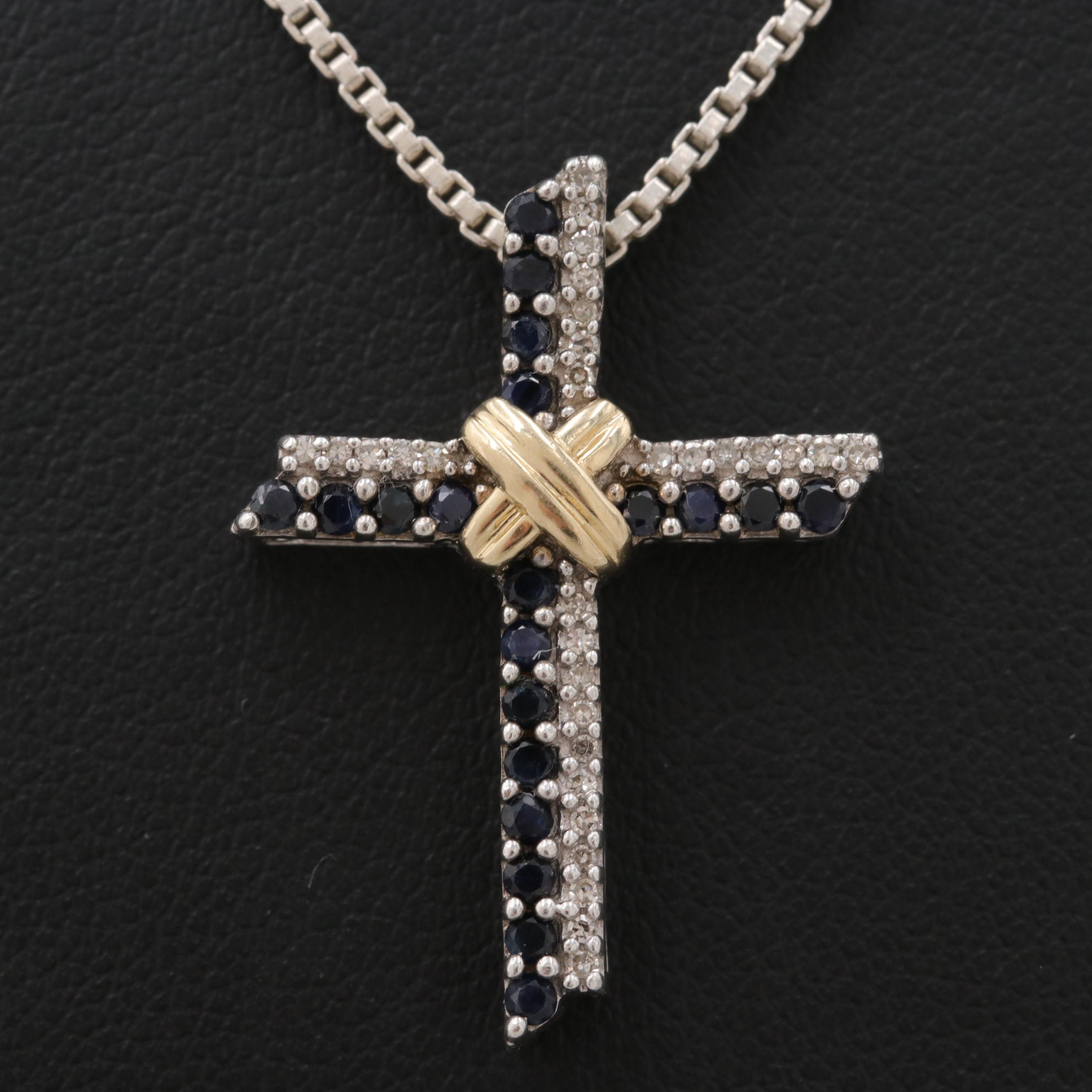 Sterling Blue Sapphire and Diamond Cross Necklace with 14K Yellow Gold Accent