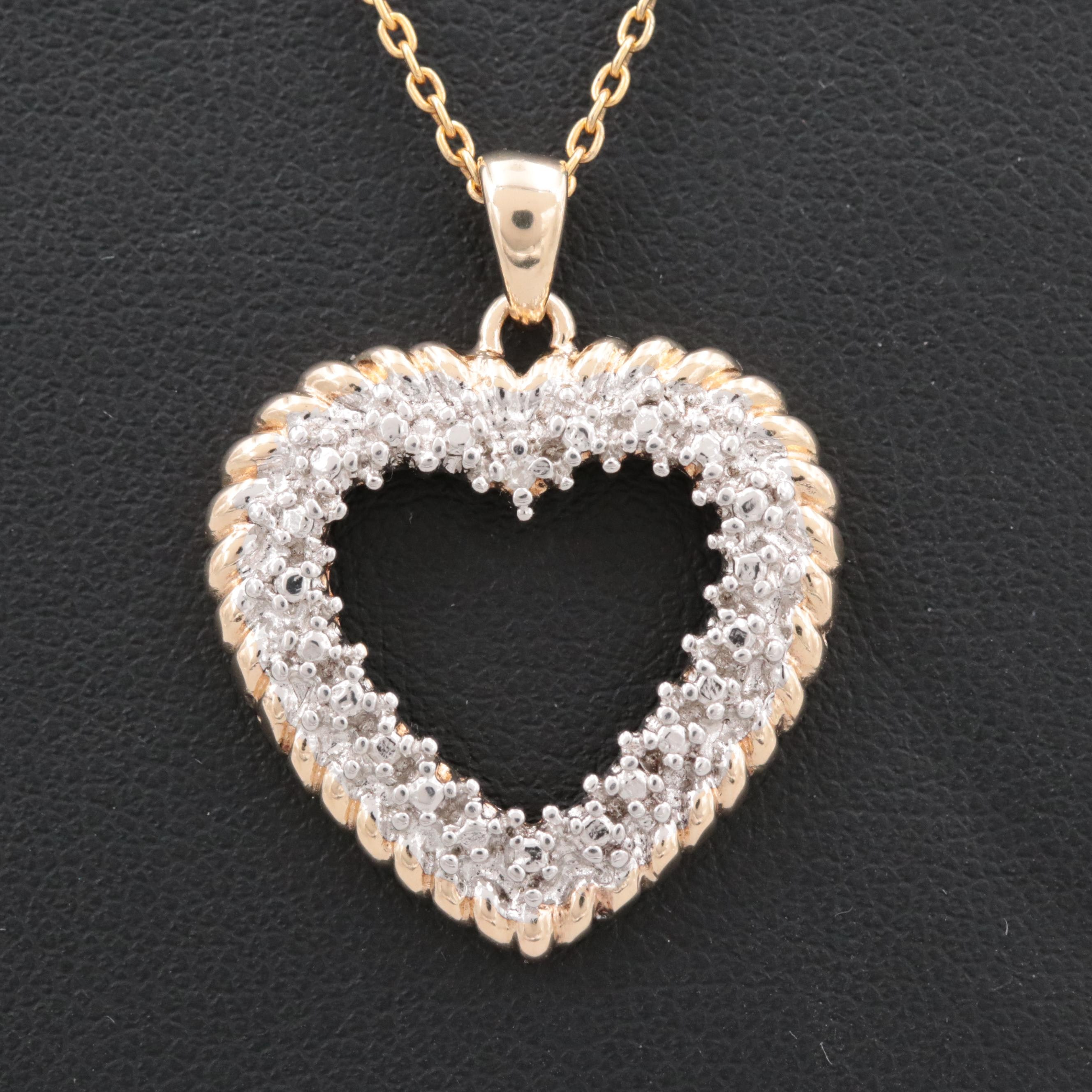 Gold Wash on Sterling Silver Diamond Heart Necklace