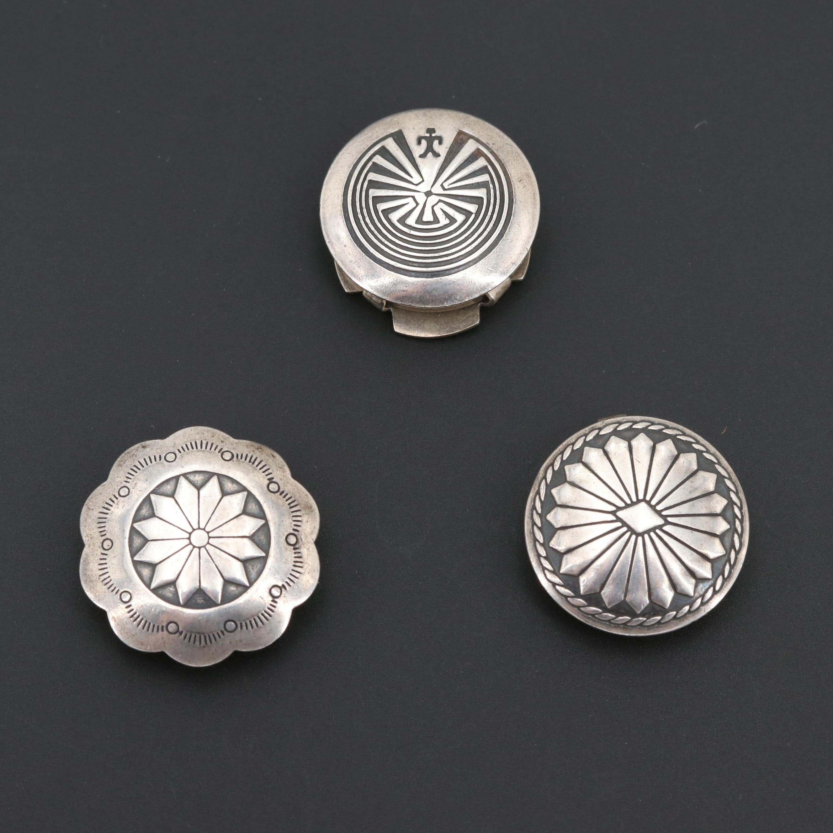 Southwestern Style Sterling Silver Button Covers