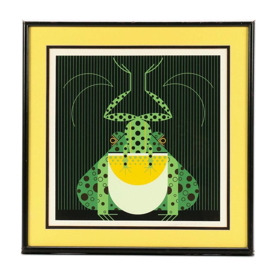 """Charley Harper Serigraph """"Frog Eat Frog"""""""